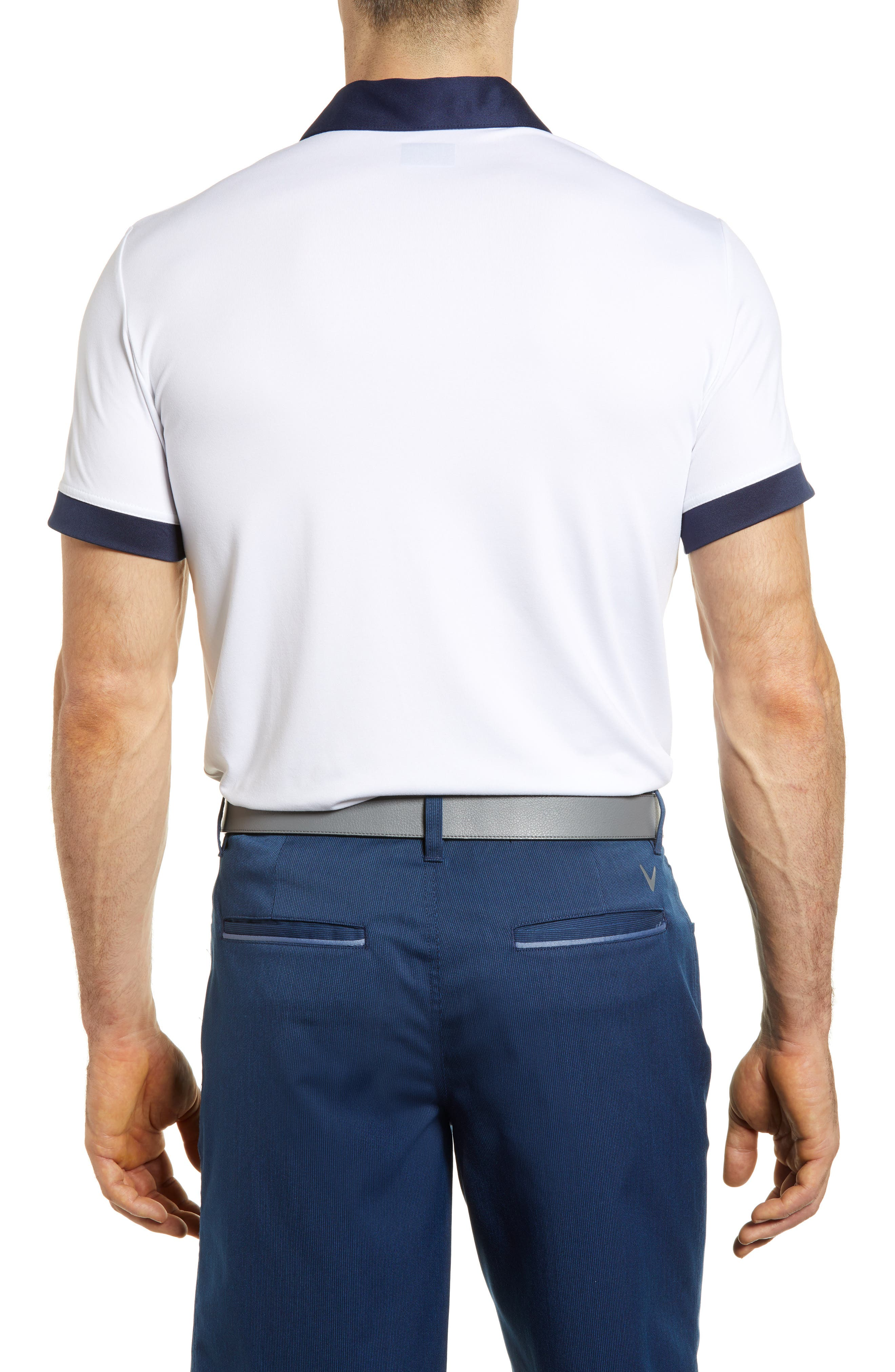 Slim Fit Double Chest Polo,                             Alternate thumbnail 2, color,                             Bright White