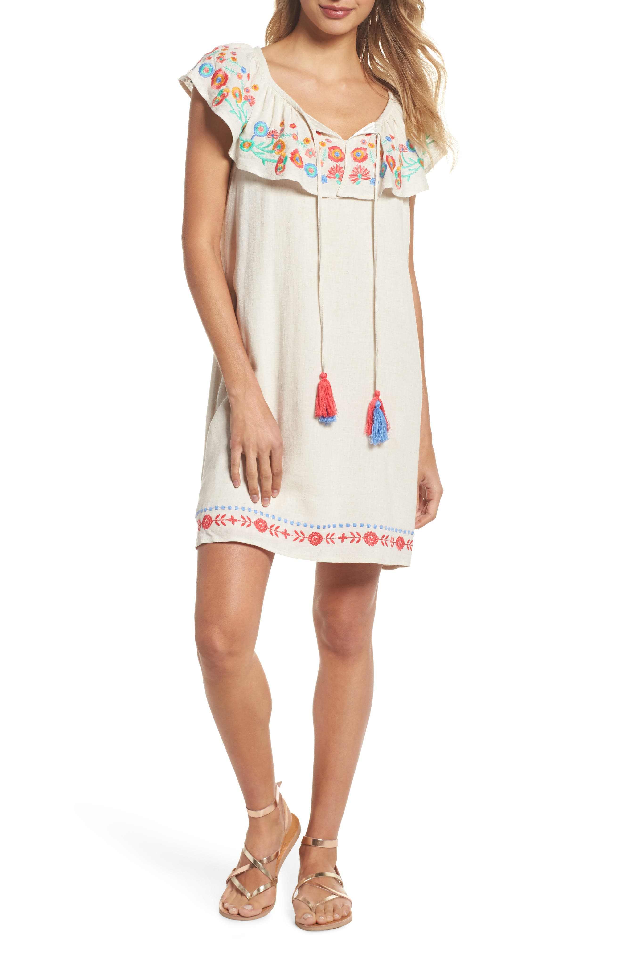 Embroidered Off the Shoulder Ruffle Dress,                         Main,                         color, Natural