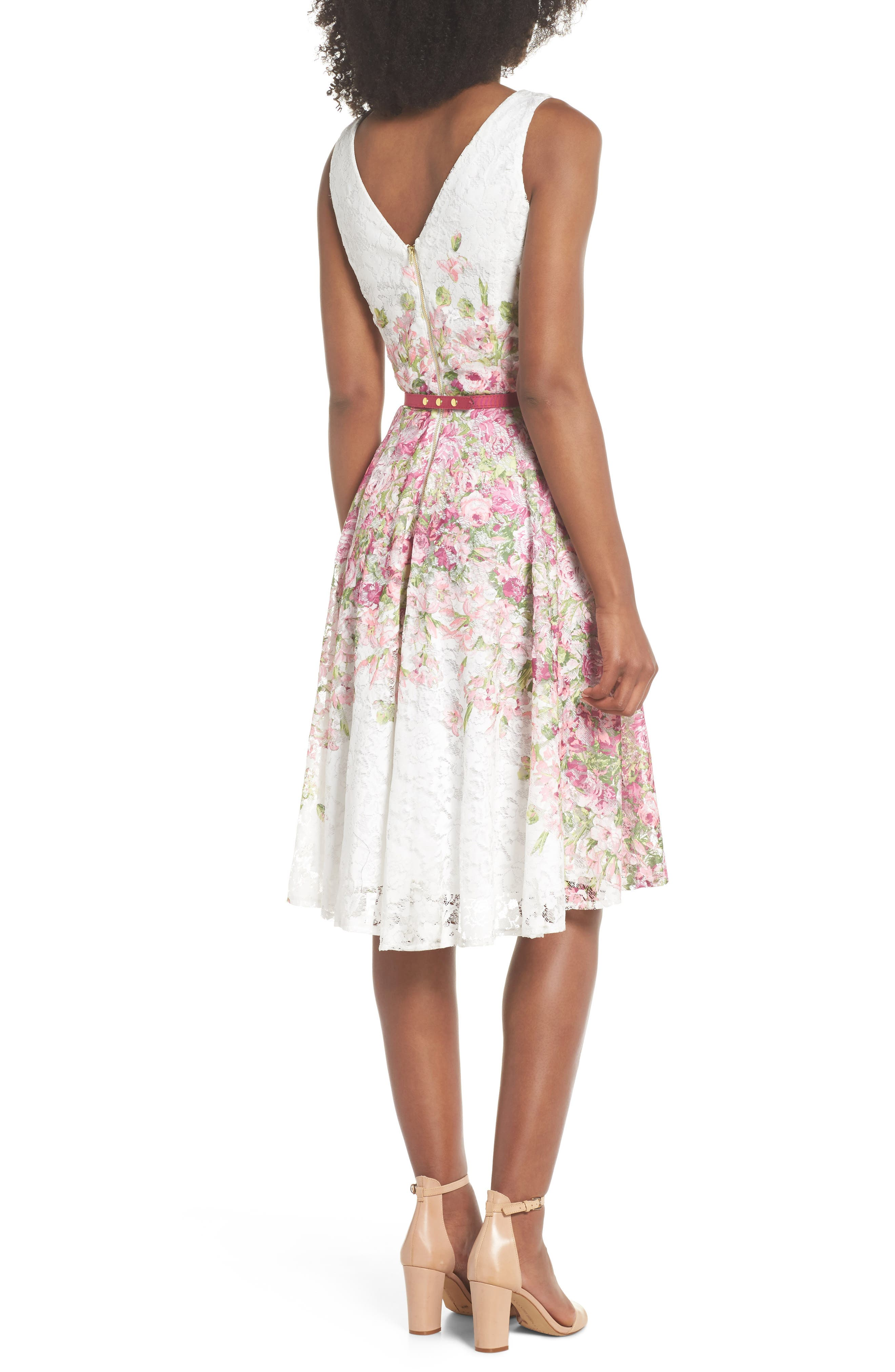 Belted Floral Lace Fit & Flare Dress,                             Alternate thumbnail 2, color,                             Pink Multi