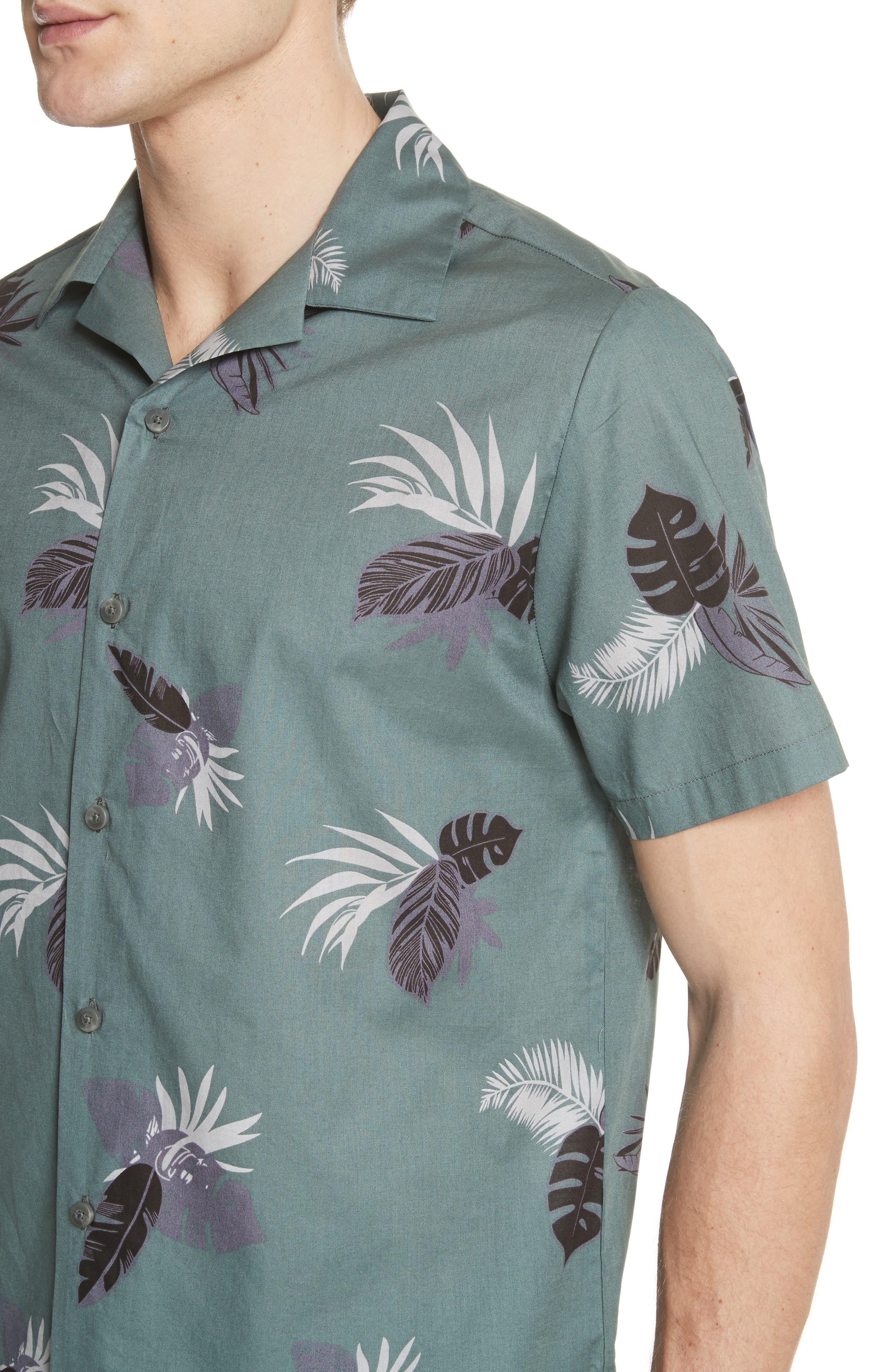 Linear Palm Print Vacation Shirt,                             Alternate thumbnail 2, color,                             Deep Sage Multi