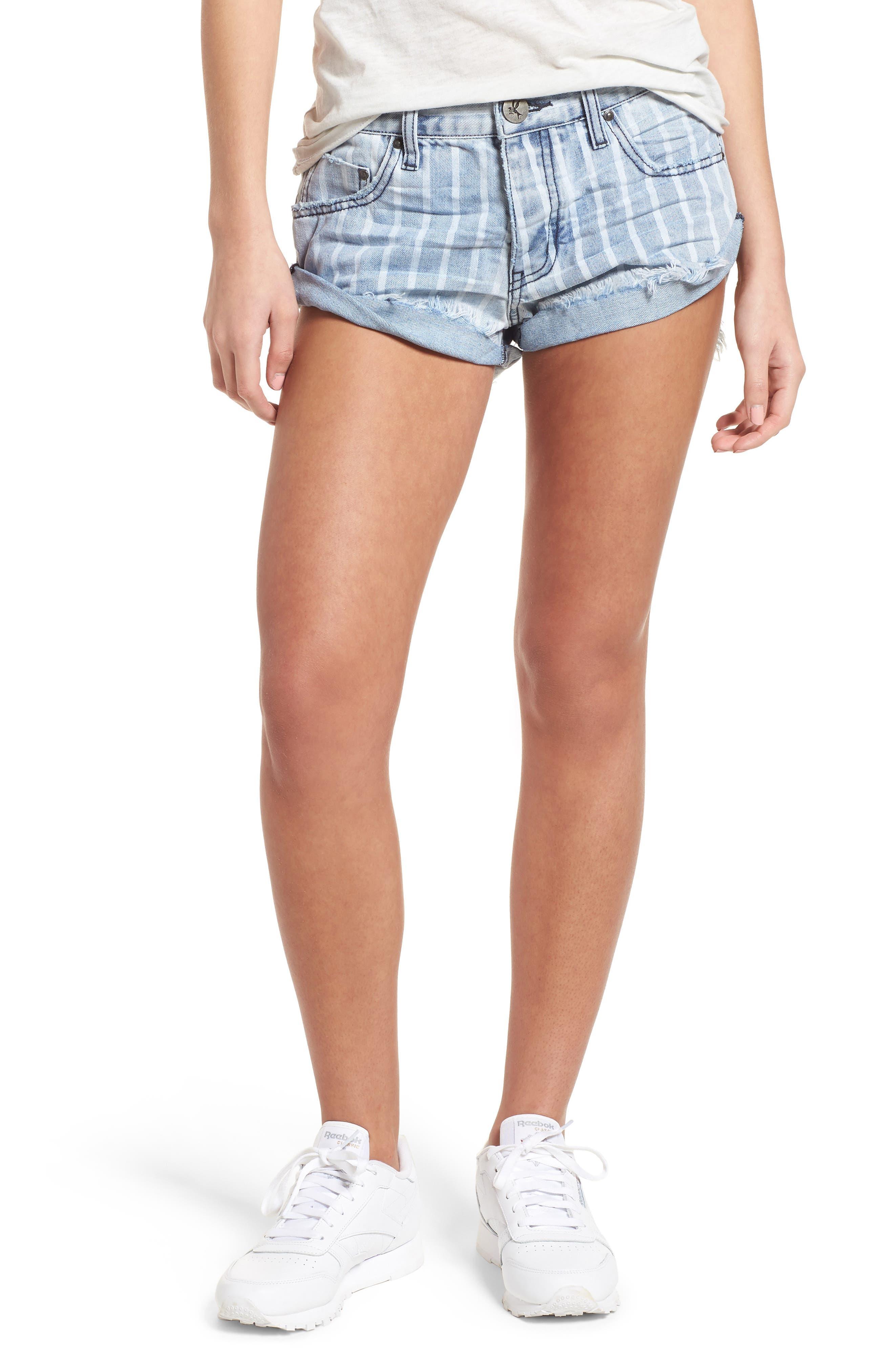One Teaspoon Bandit Stripe Denim Shorts (Rocky)