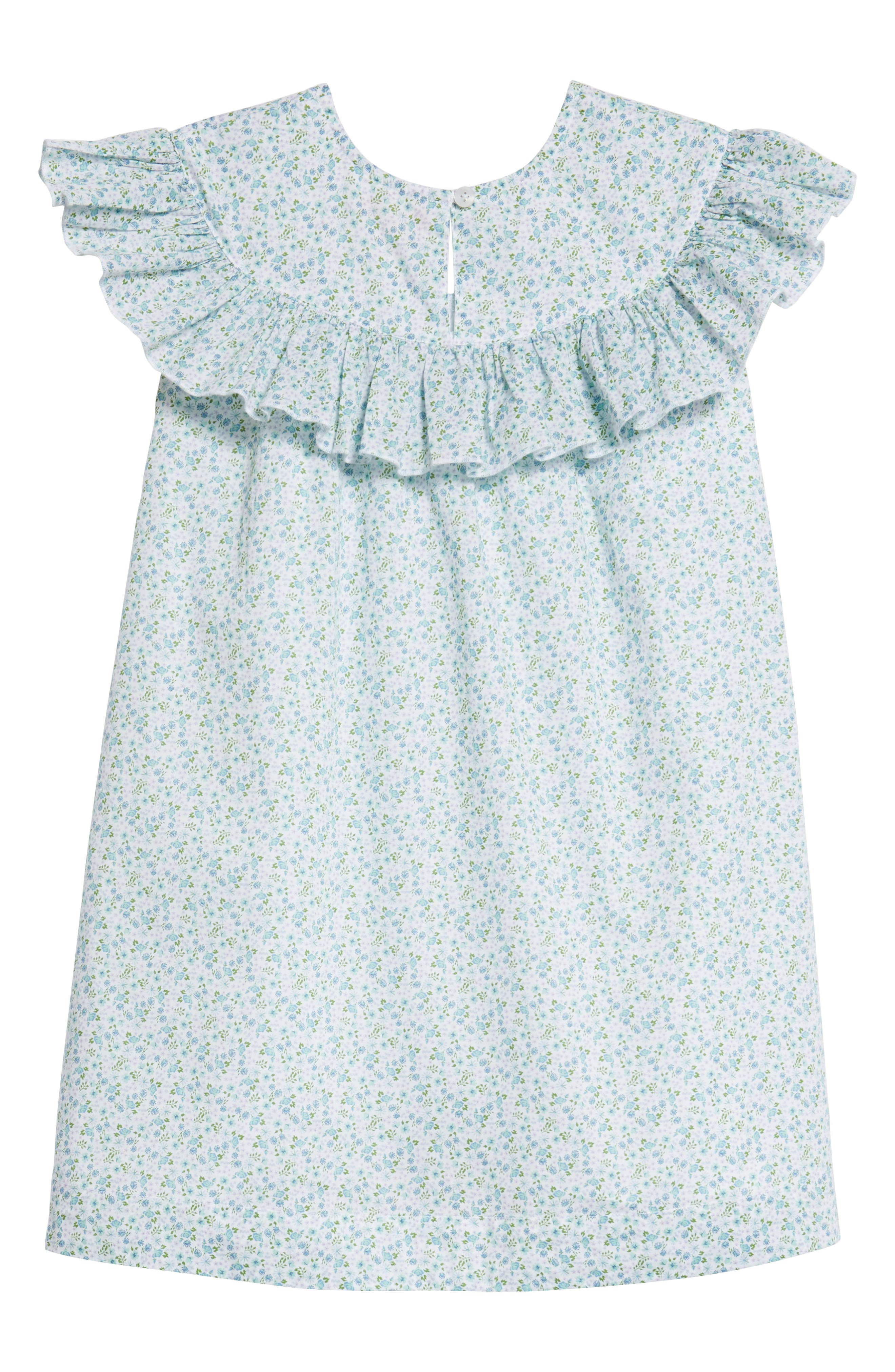 Ruffle Dress,                             Alternate thumbnail 2, color,                             White- Blue Tropic Ditsy
