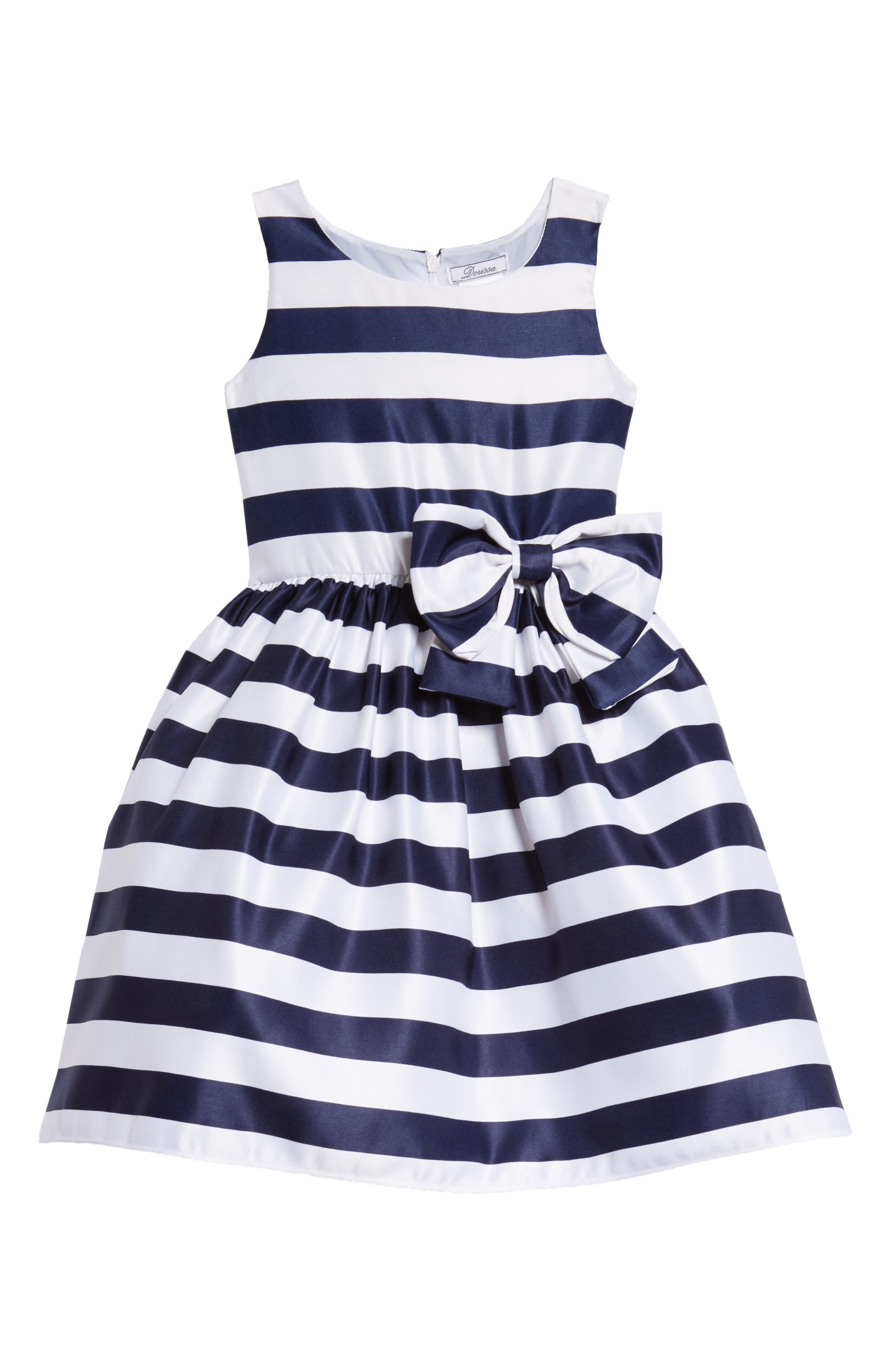 Tara Stripe Party Dress,                             Main thumbnail 1, color,                             White/ Navy