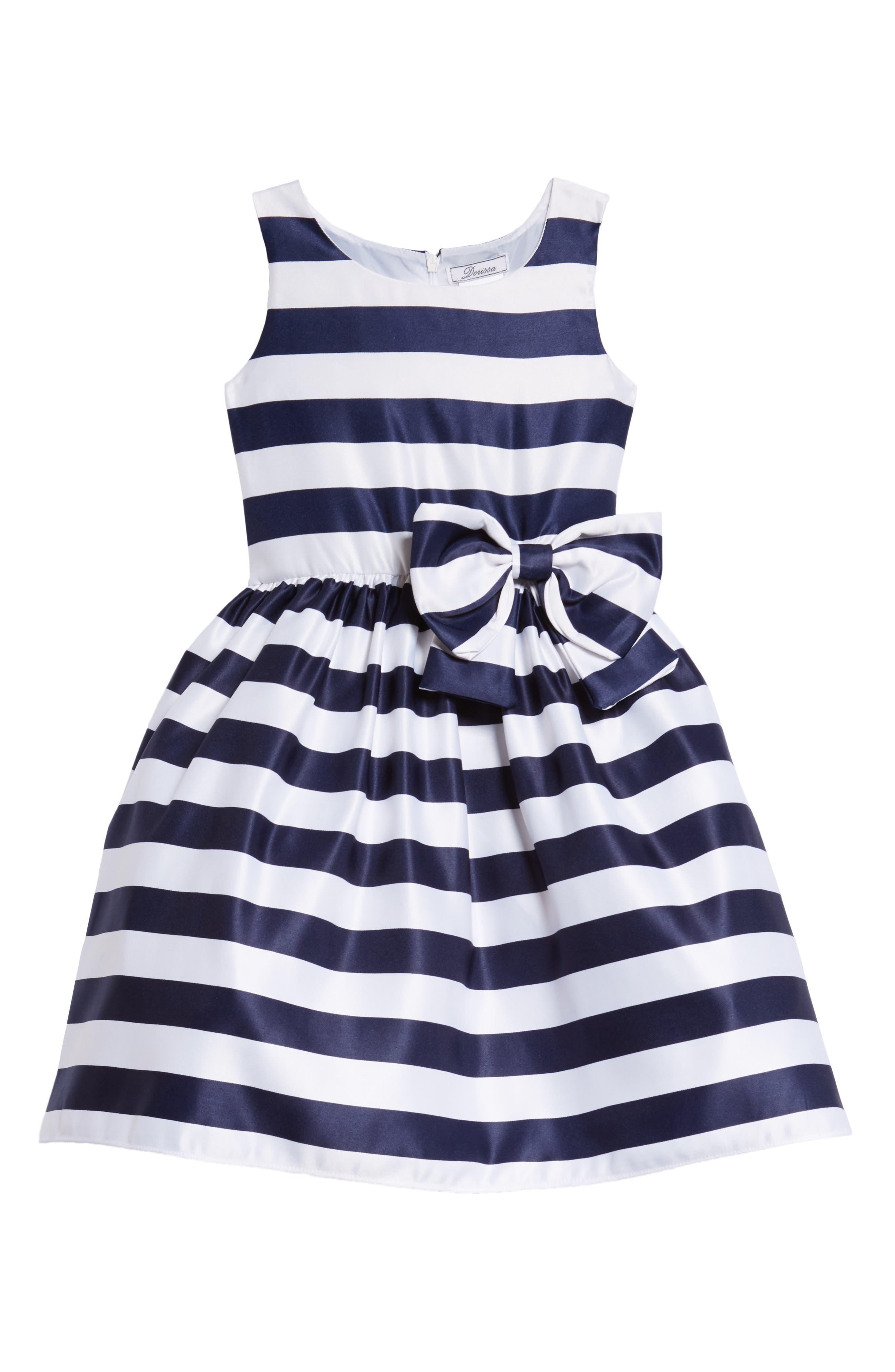 Tara Stripe Party Dress,                         Main,                         color, White/ Navy
