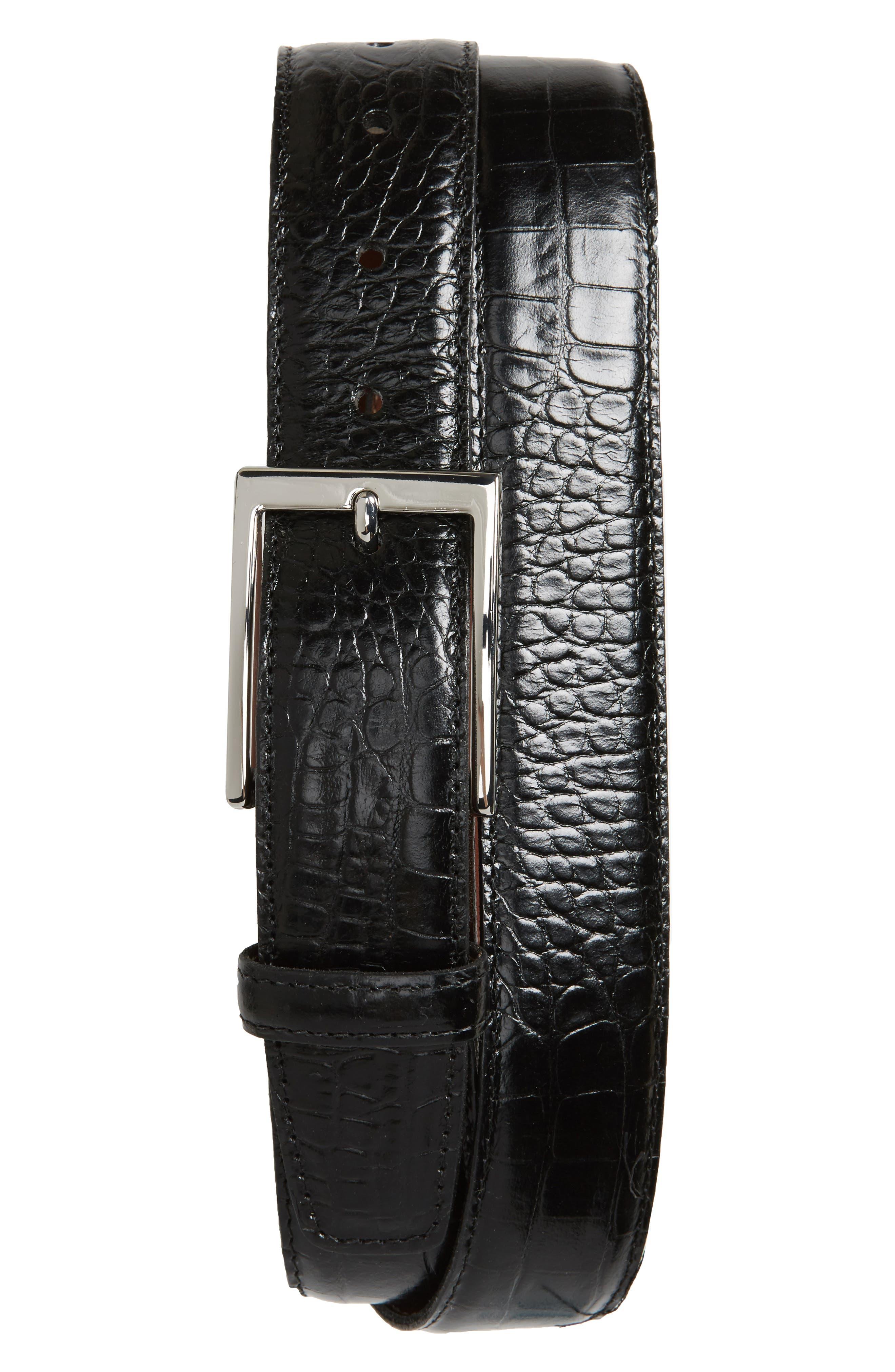 Gator Grain Embossed Leather Belt,                             Main thumbnail 1, color,                             Black