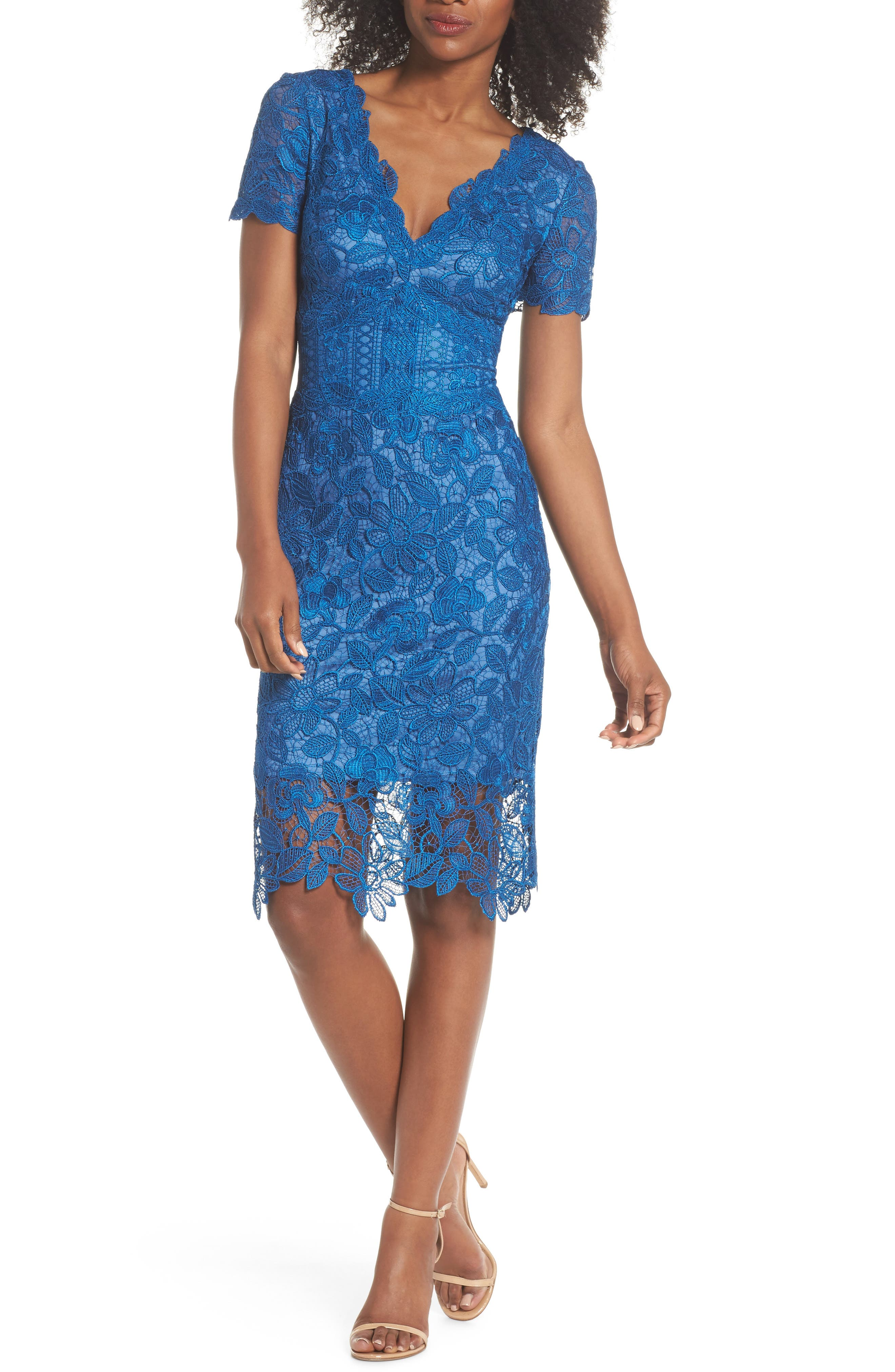 Carter Lace Sheath Dress,                             Main thumbnail 1, color,                             Azure
