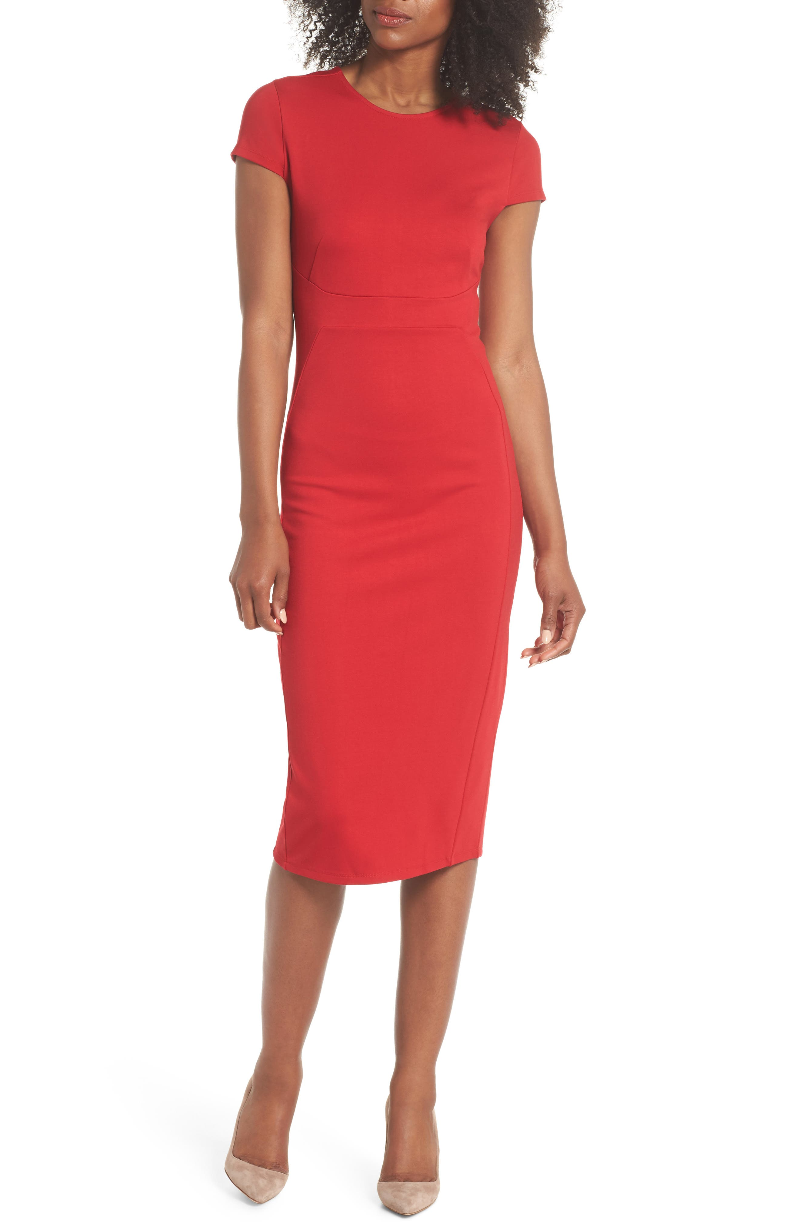 Austin Sheath Dress,                         Main,                         color, Tango Red