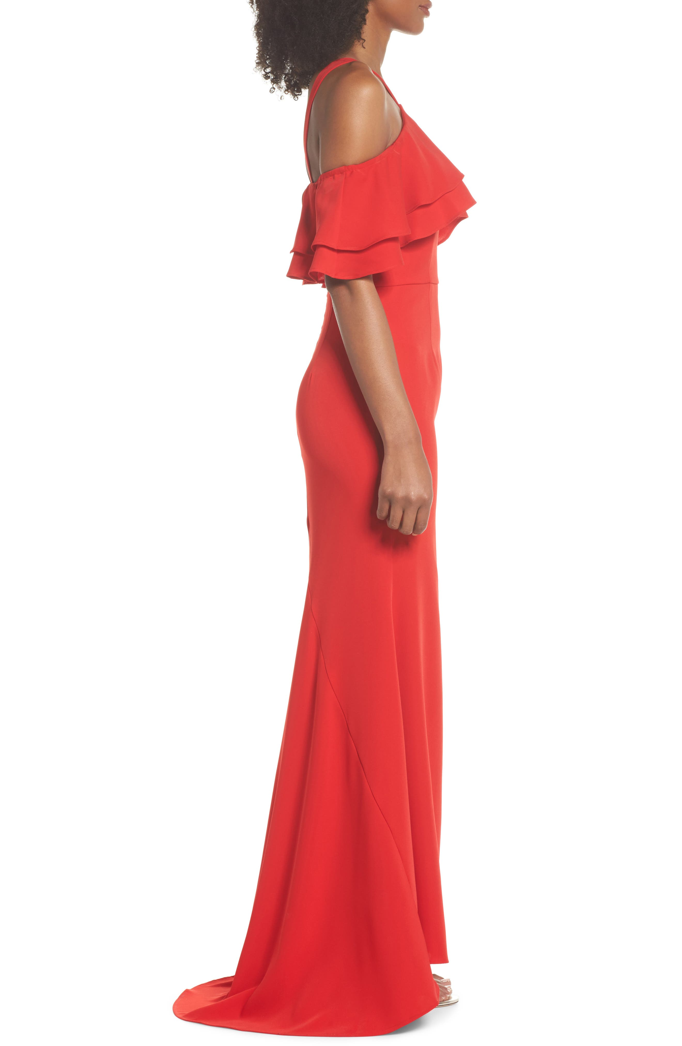 Dianne Ruffle Top Halter Gown,                             Alternate thumbnail 3, color,                             Red