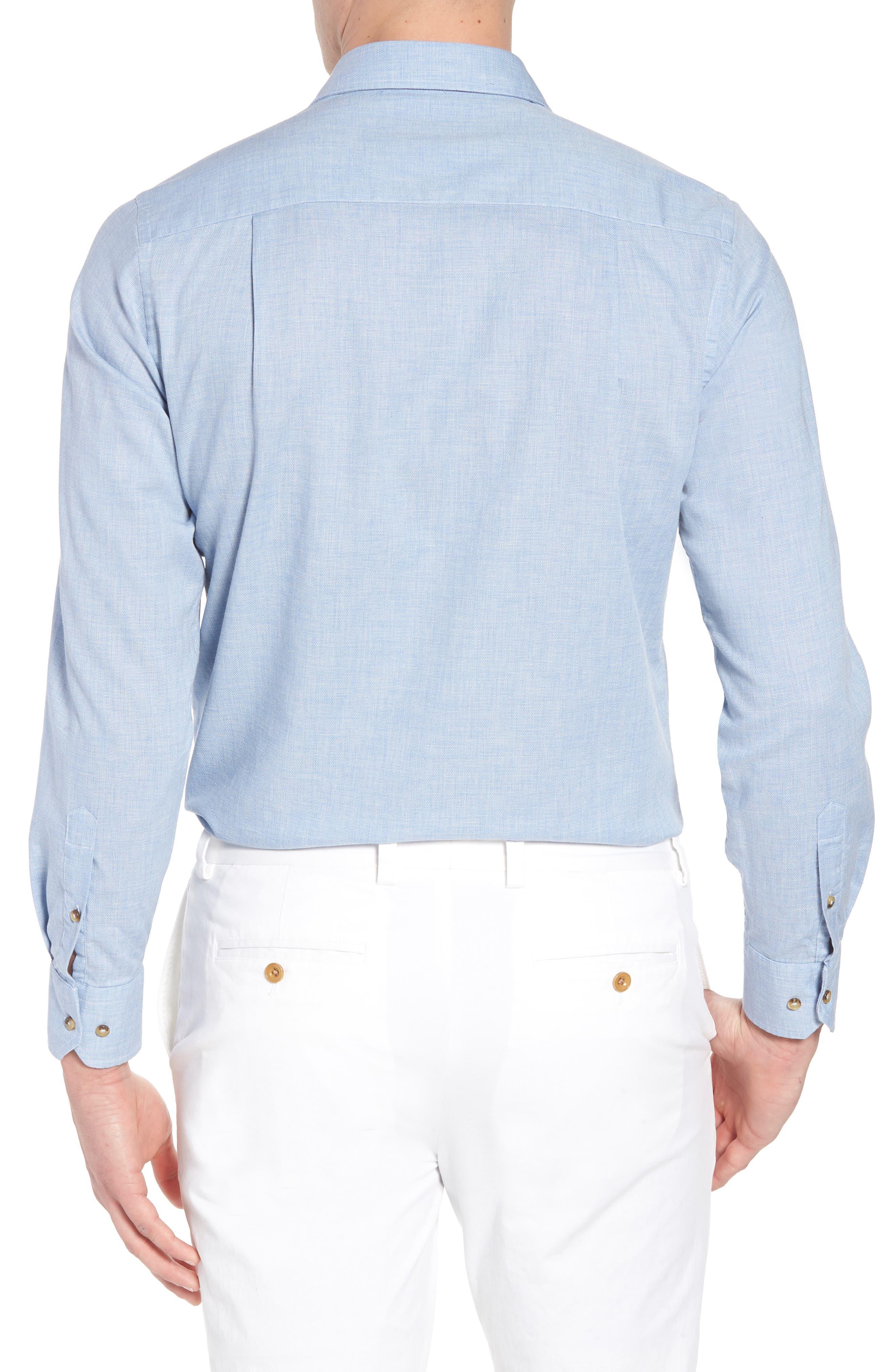 Regular Fit Garment Washed Mélange Sport Shirt,                             Alternate thumbnail 2, color,                             Sky