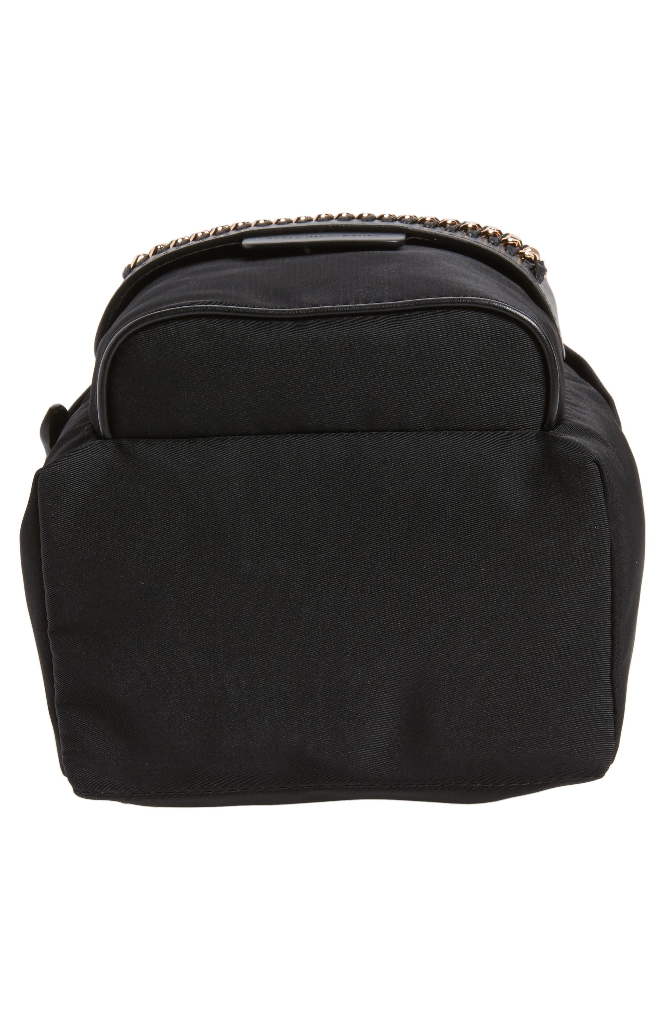 Mini Falabella Nylon Backpack,                             Alternate thumbnail 5, color,                             Black