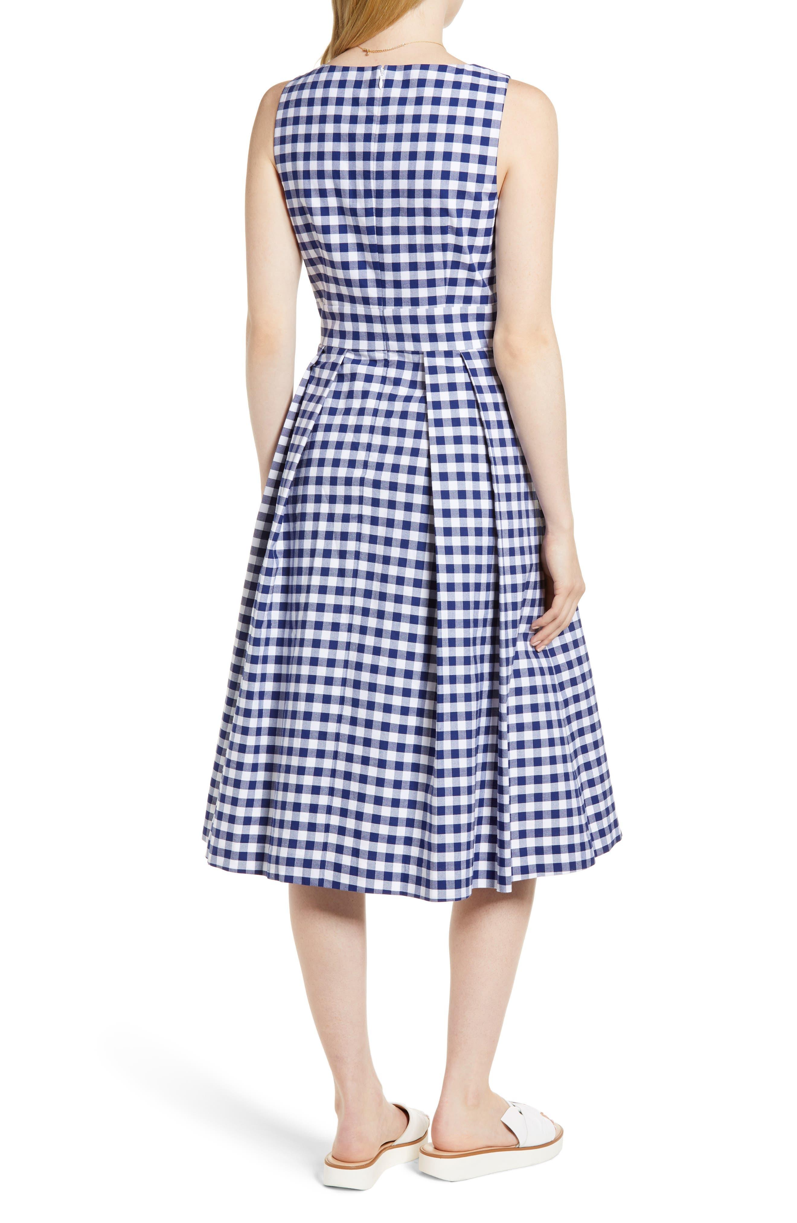 Gingham Fit & Flare Midi Dress,                             Alternate thumbnail 2, color,                             Navy Gingham