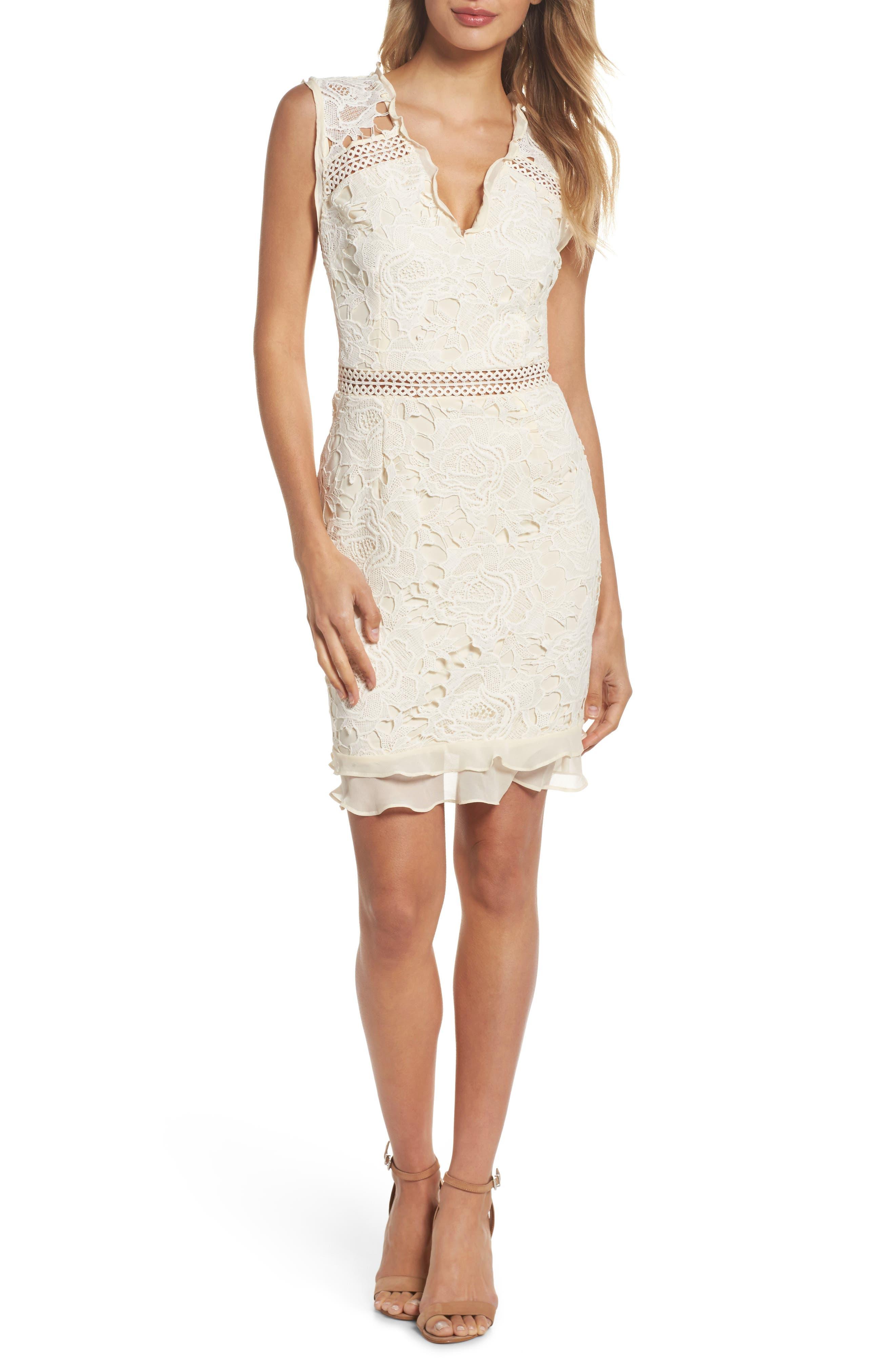 Lustrous Lace Sheath Dress,                             Main thumbnail 1, color,                             Coconut Milk