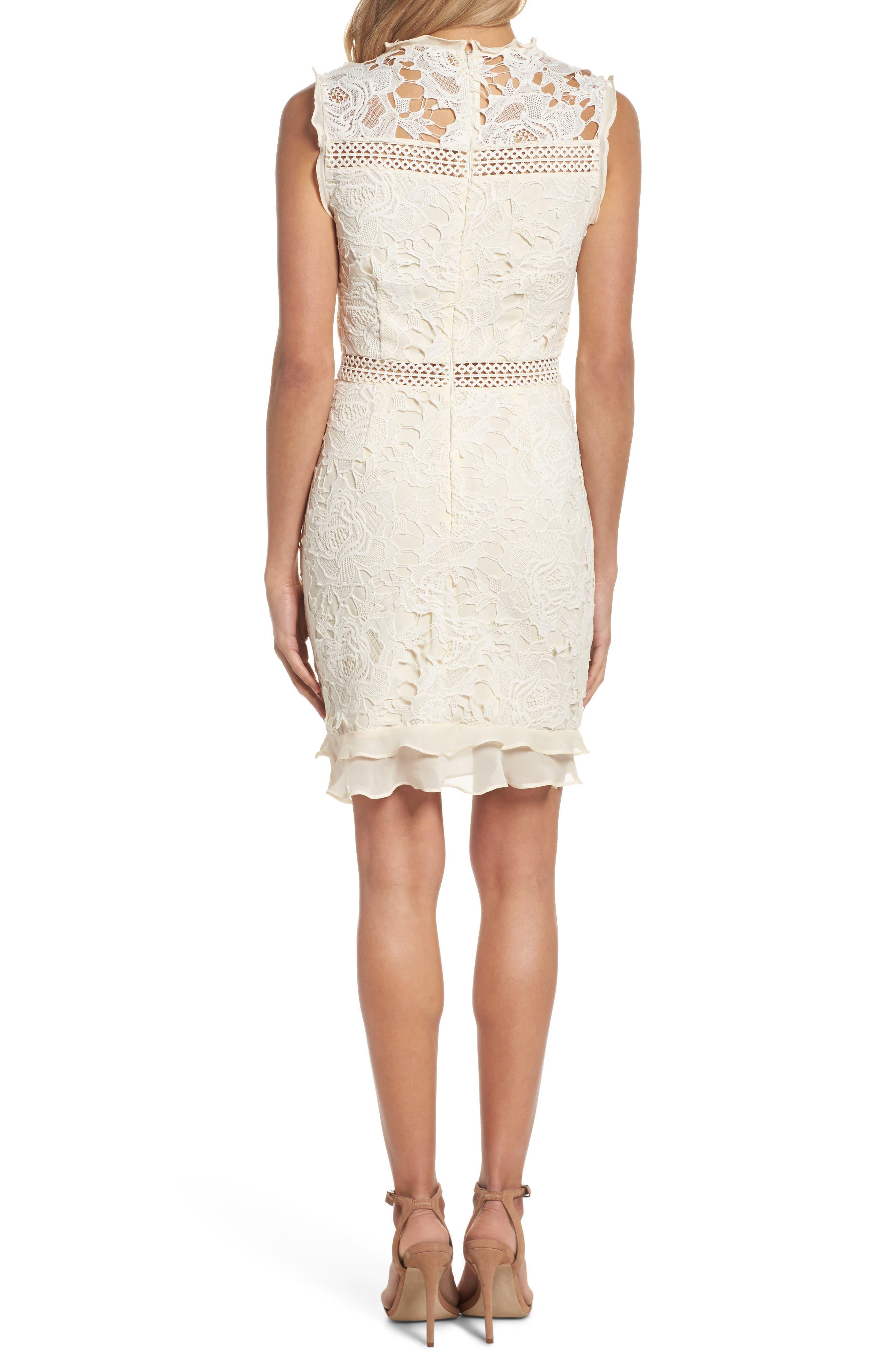 Lustrous Lace Sheath Dress,                             Alternate thumbnail 2, color,                             Coconut Milk