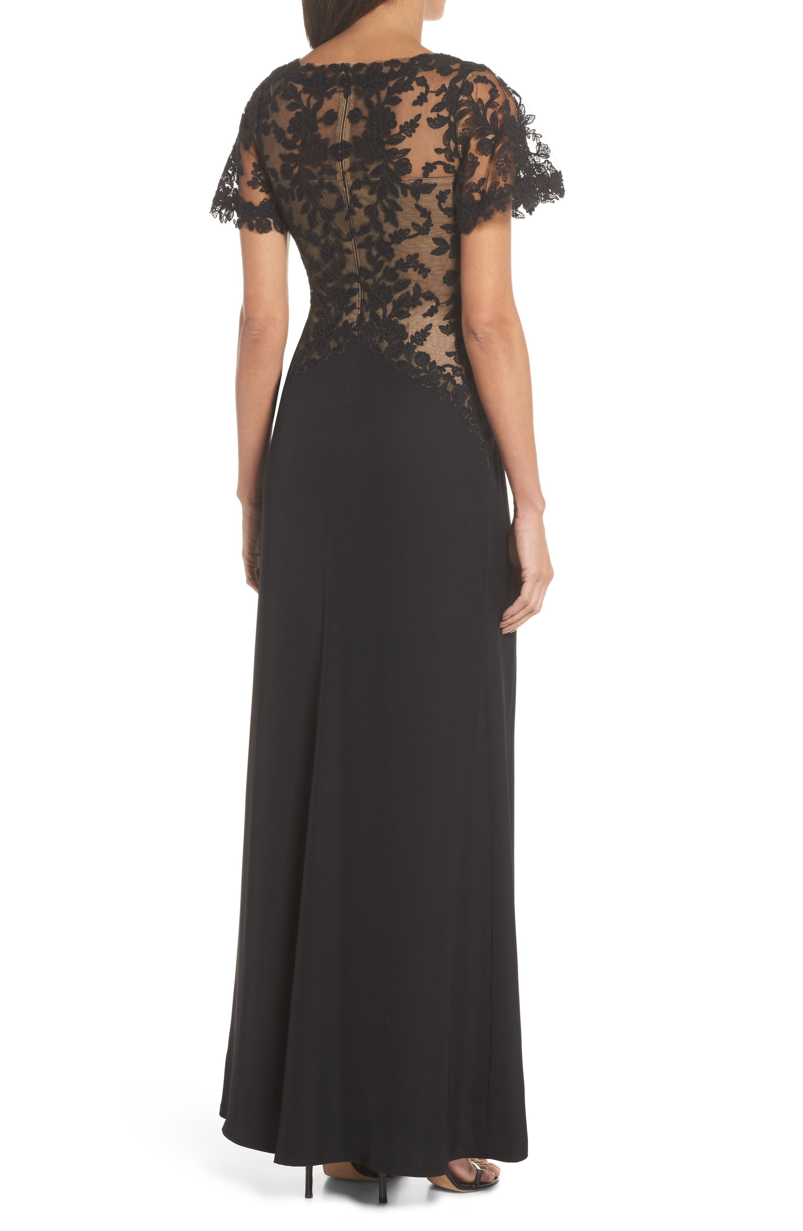 Lace & Crepe Gown,                             Alternate thumbnail 2, color,                             Black Nude
