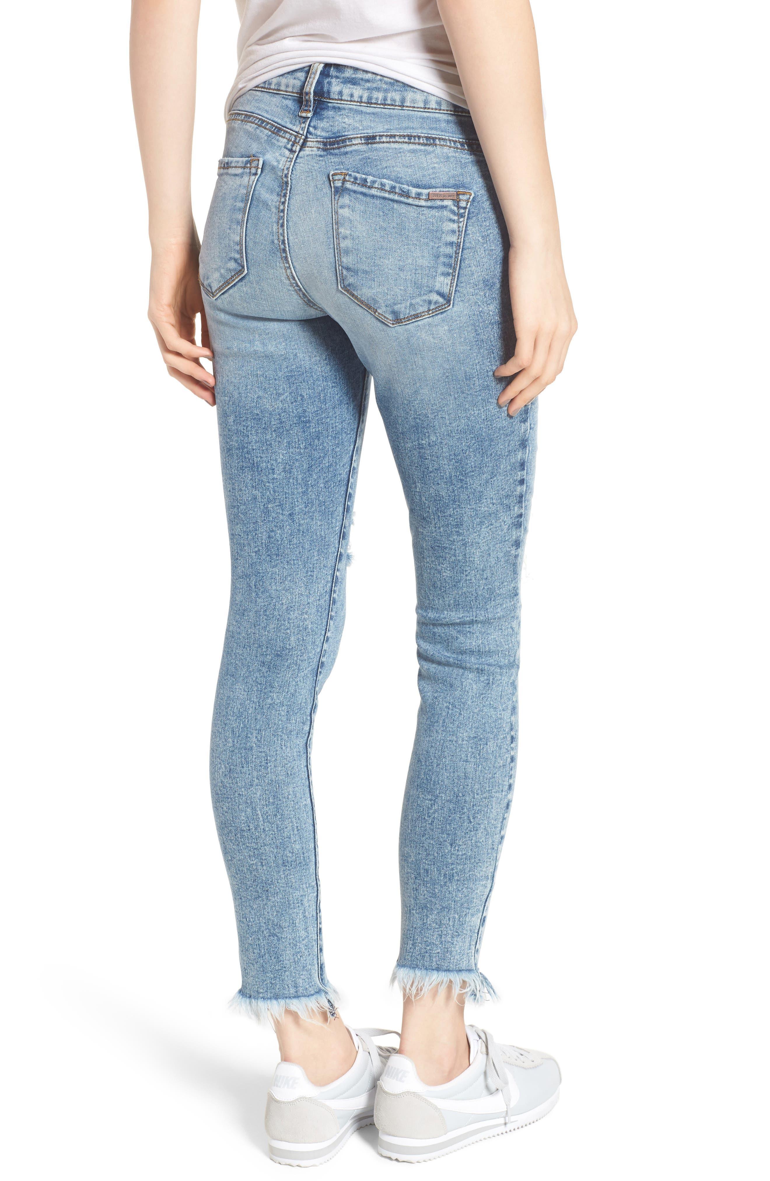 Emma Fray Hem Ankle Skinny Jeans,                             Alternate thumbnail 2, color,                             Durkee