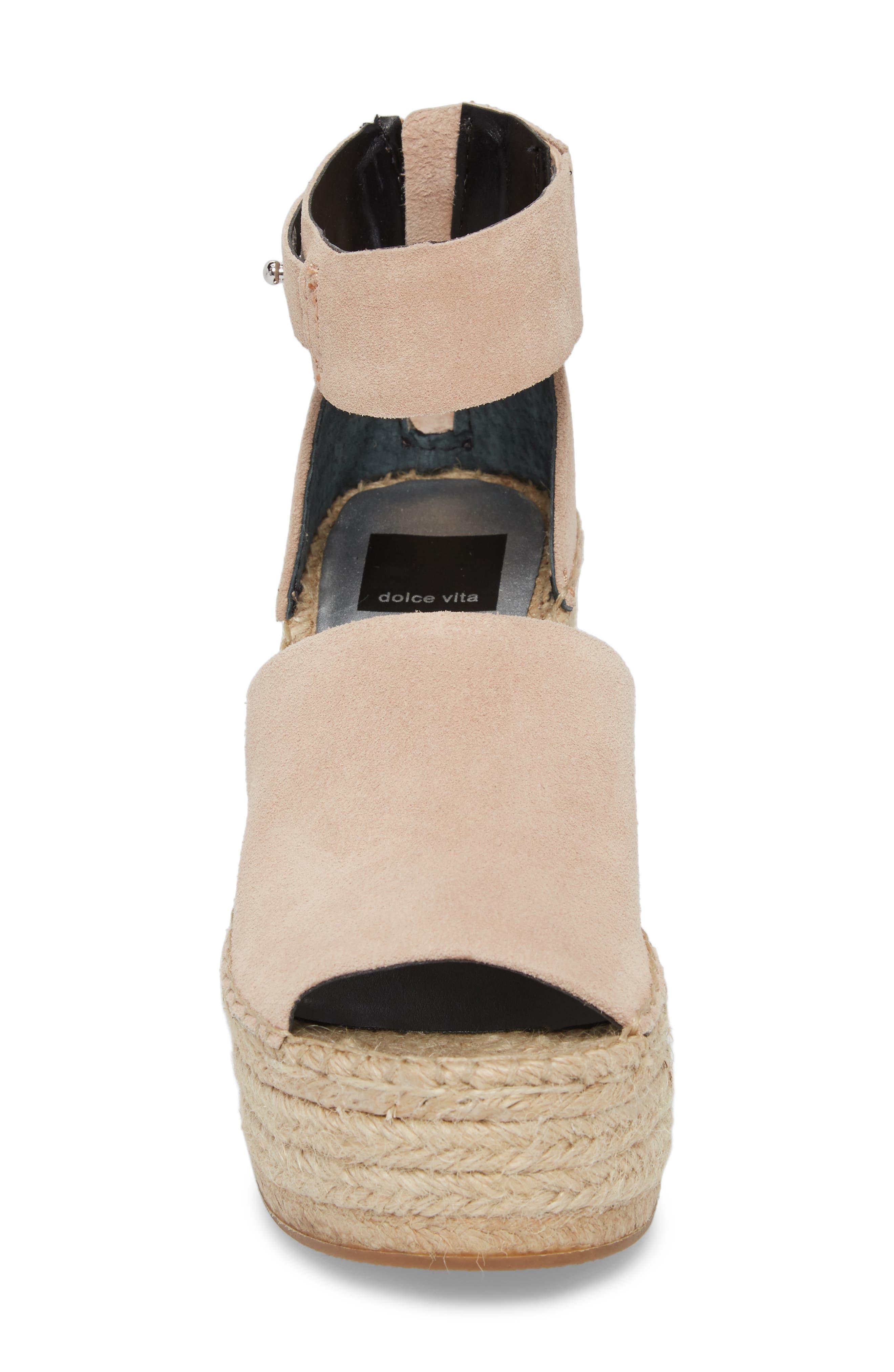 Straw Wedge Espadrille Sandal,                             Alternate thumbnail 4, color,                             Blush