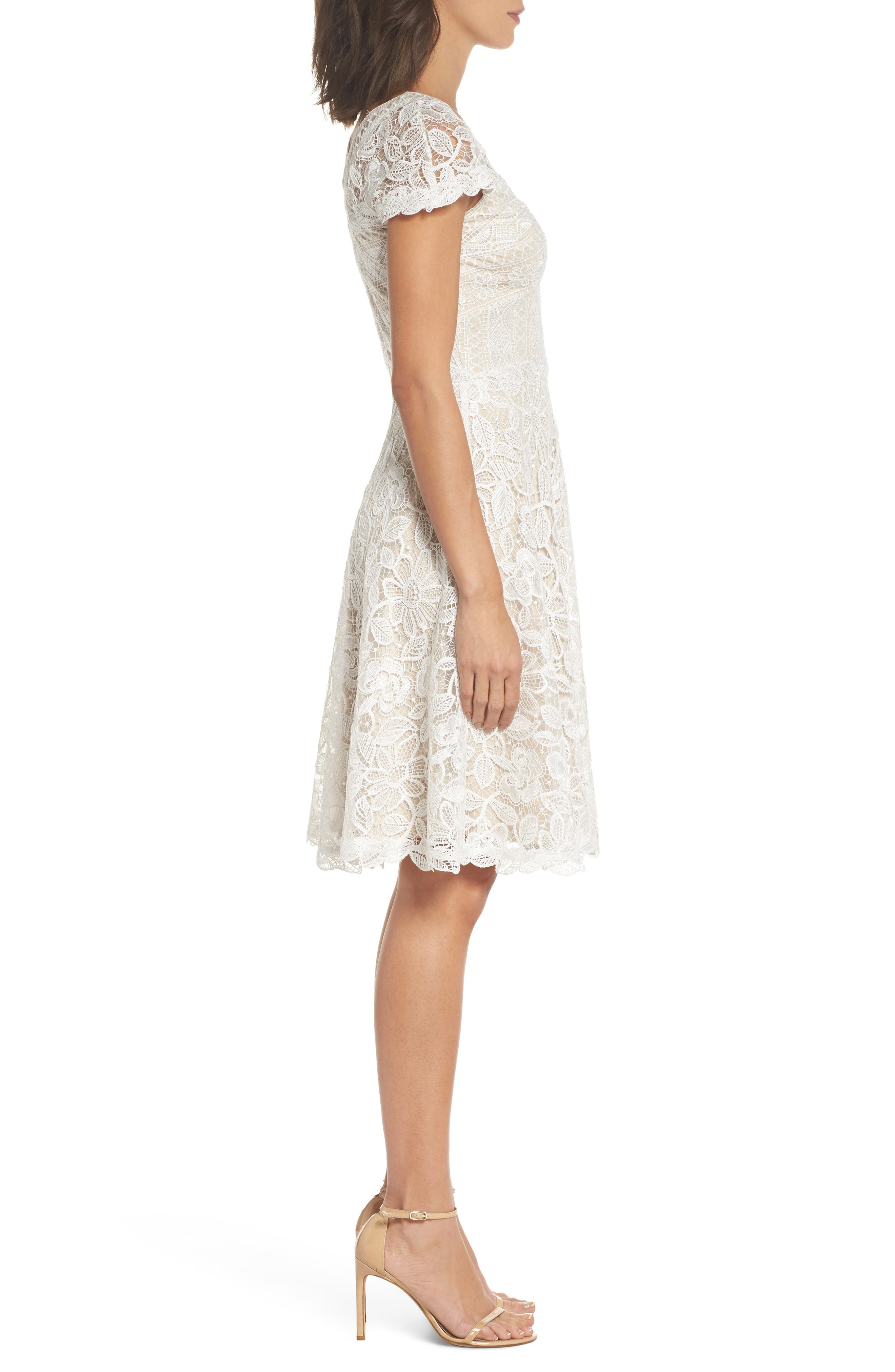 Mixed Lace Fit & Flare Dress,                             Alternate thumbnail 3, color,                             White/ Natural