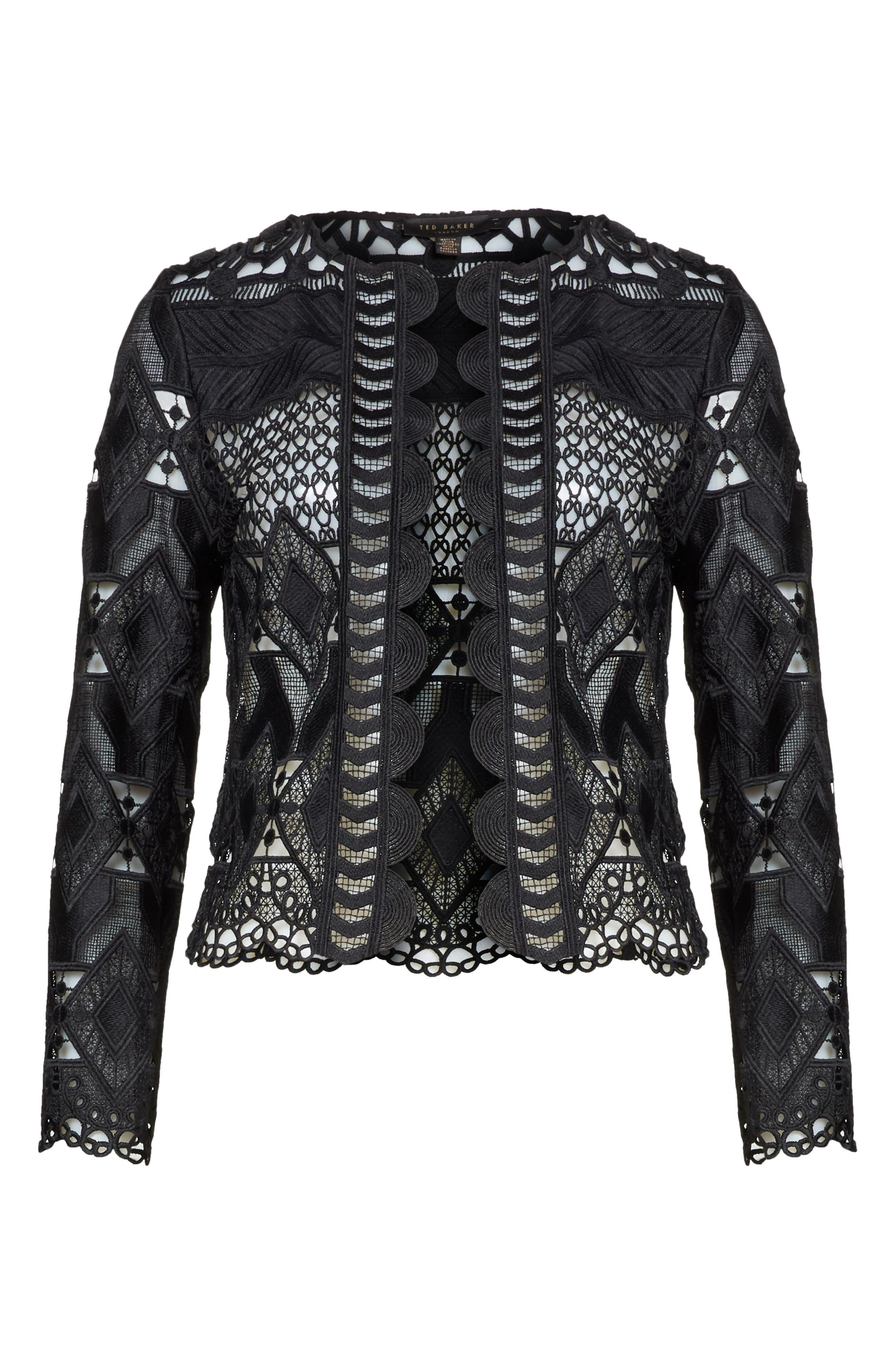 Crop Lace Jacket,                             Alternate thumbnail 6, color,                             Black
