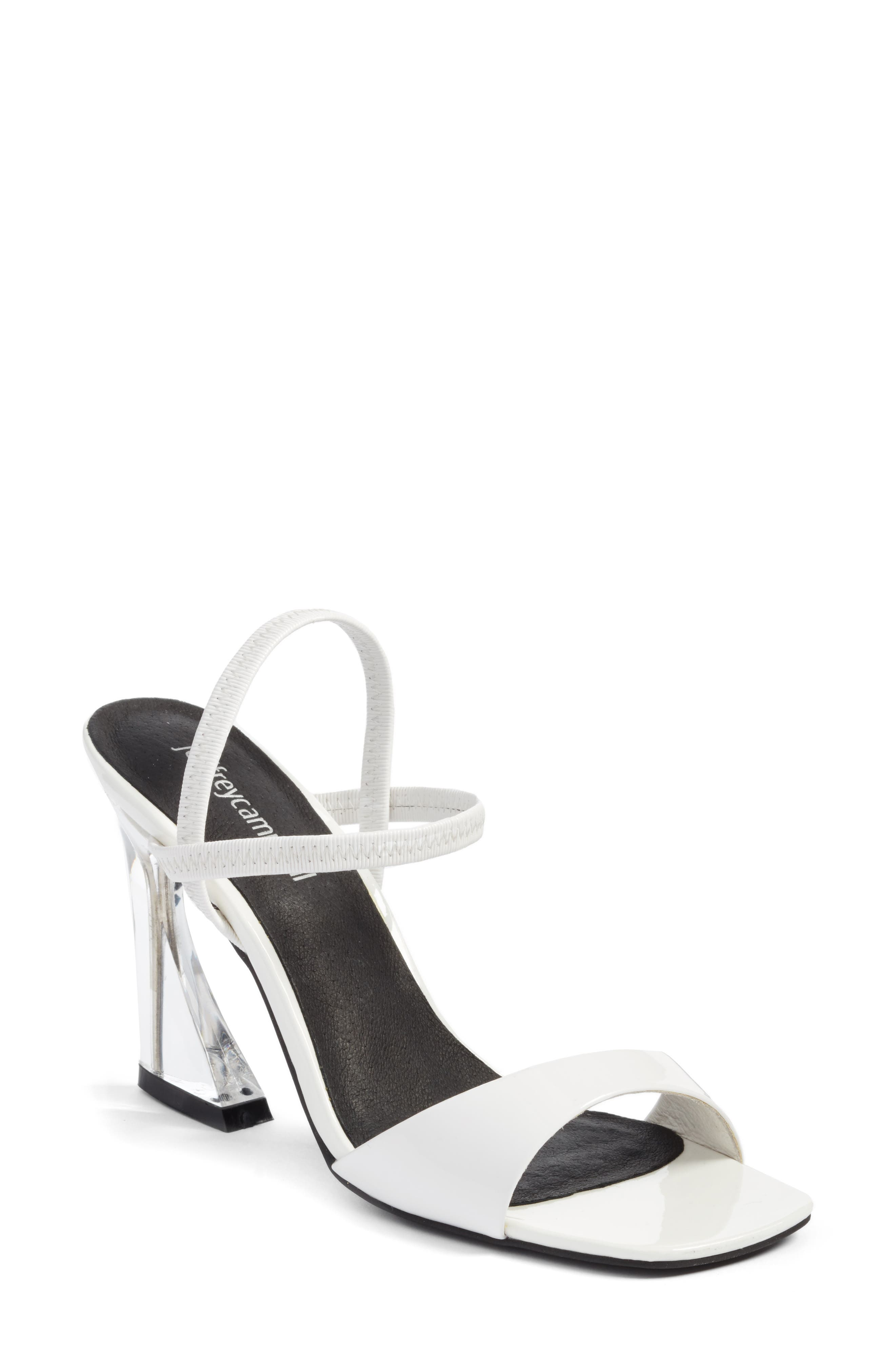 Carine Sandal,                         Main,                         color, White Patent/ Clear