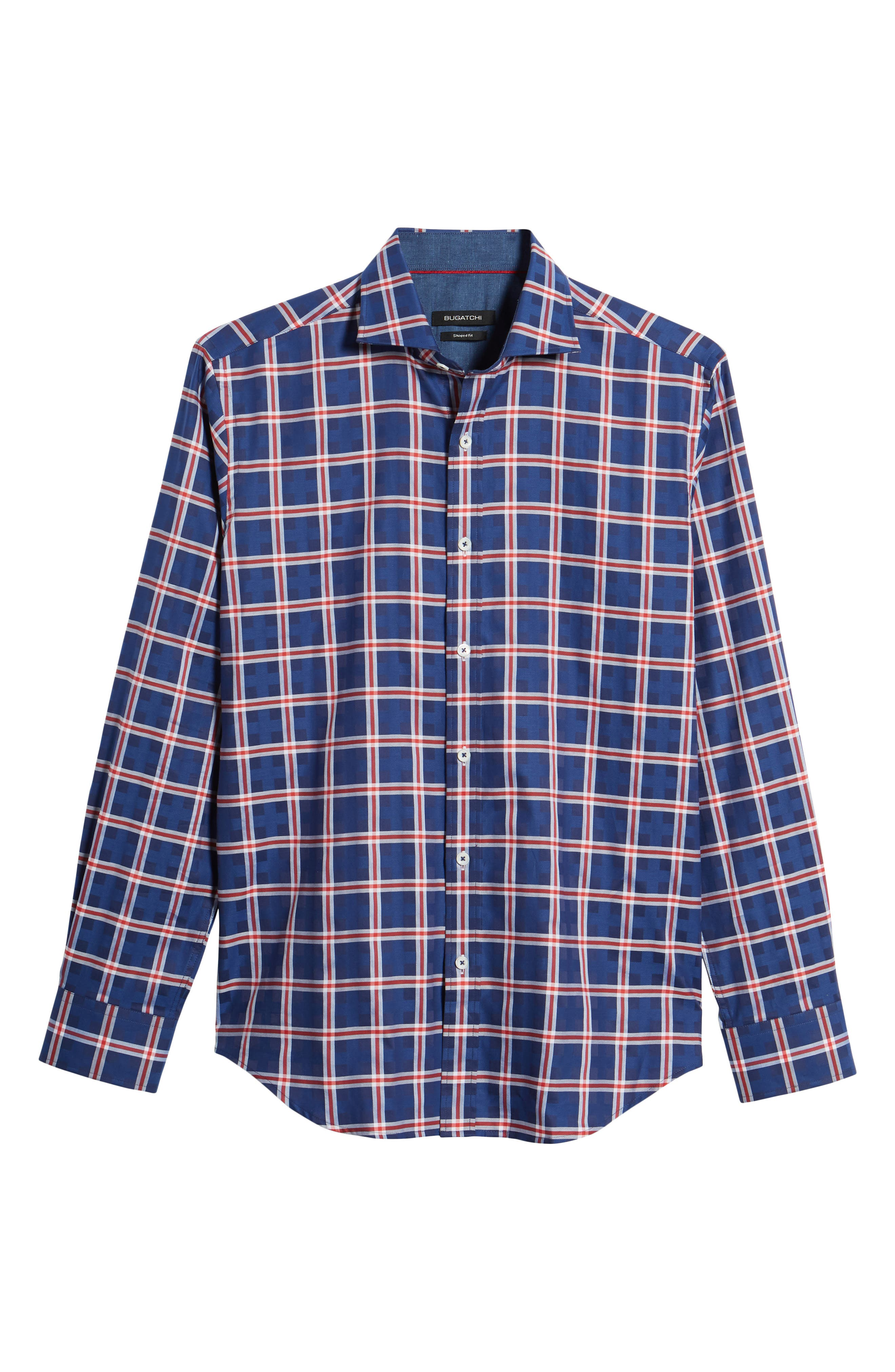 Shaped Fit Check Sport Shirt,                             Alternate thumbnail 6, color,                             Navy