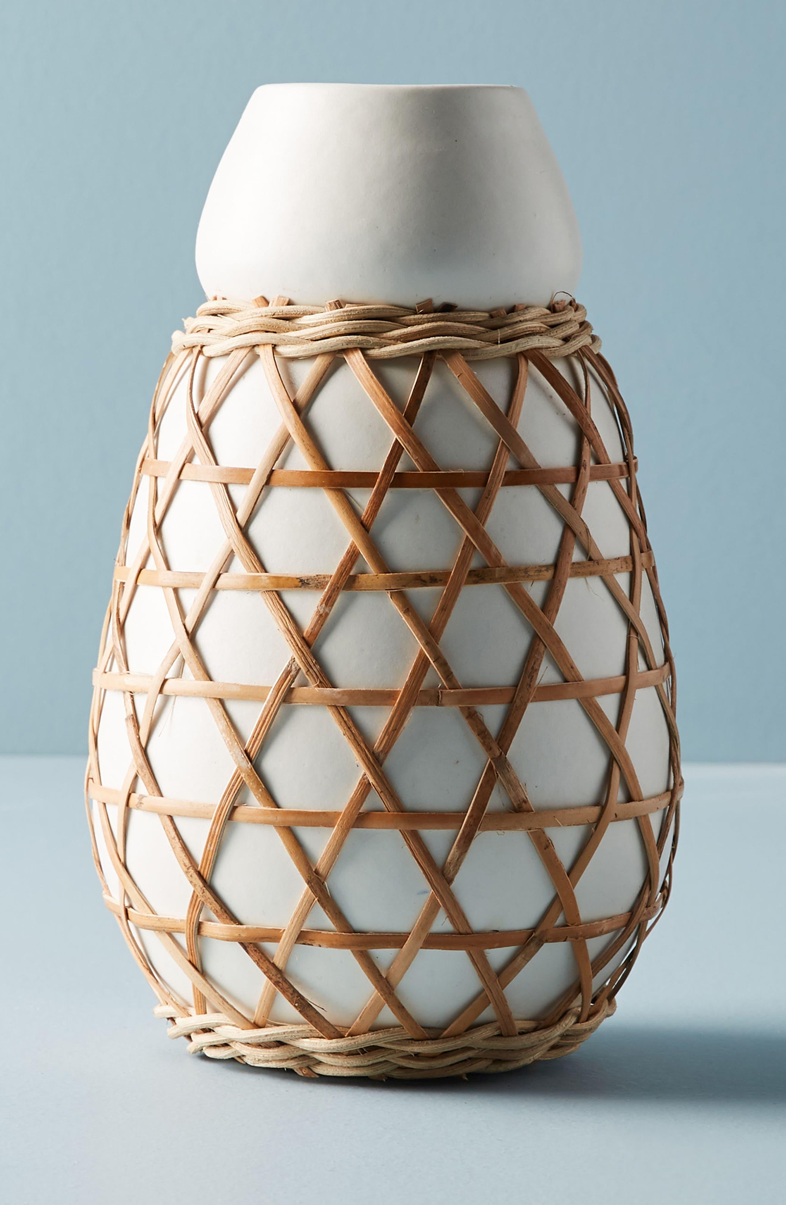 Woven Grass Vase,                             Main thumbnail 1, color,                             White