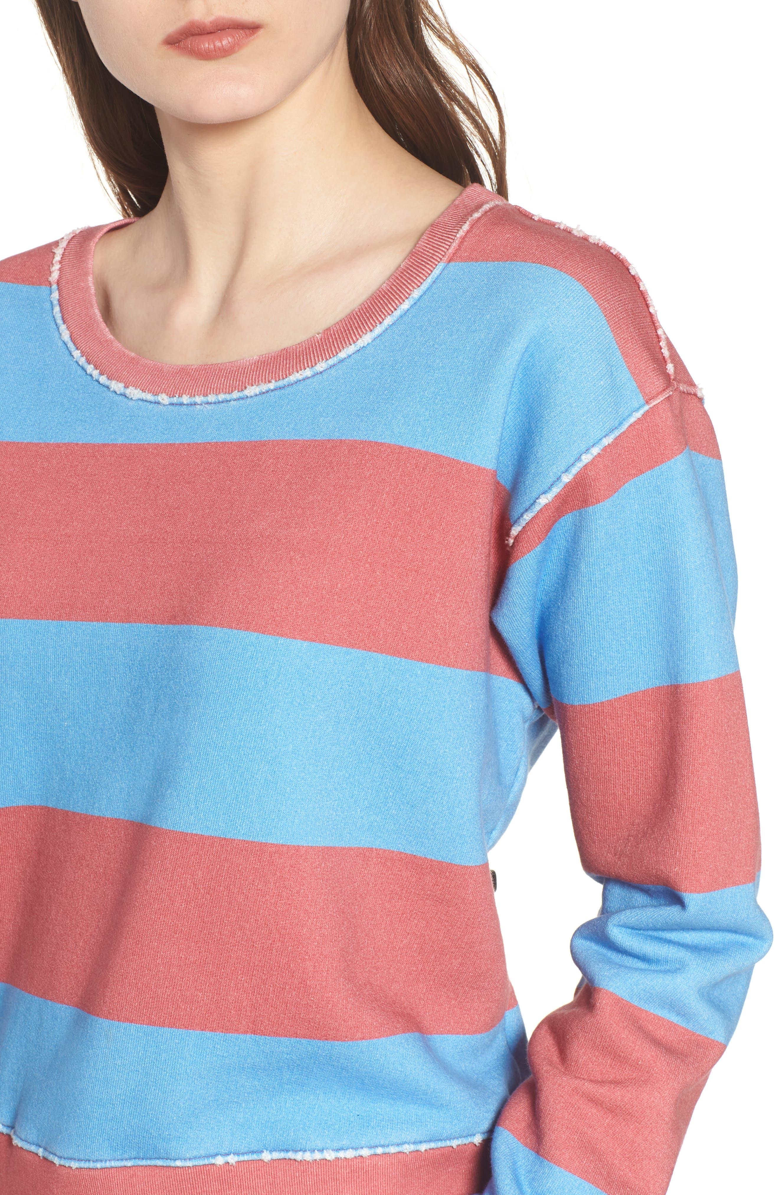 Stripe Crewneck Sweatshirt,                             Alternate thumbnail 4, color,                             Red Rugby 5 Vintage Year Wash