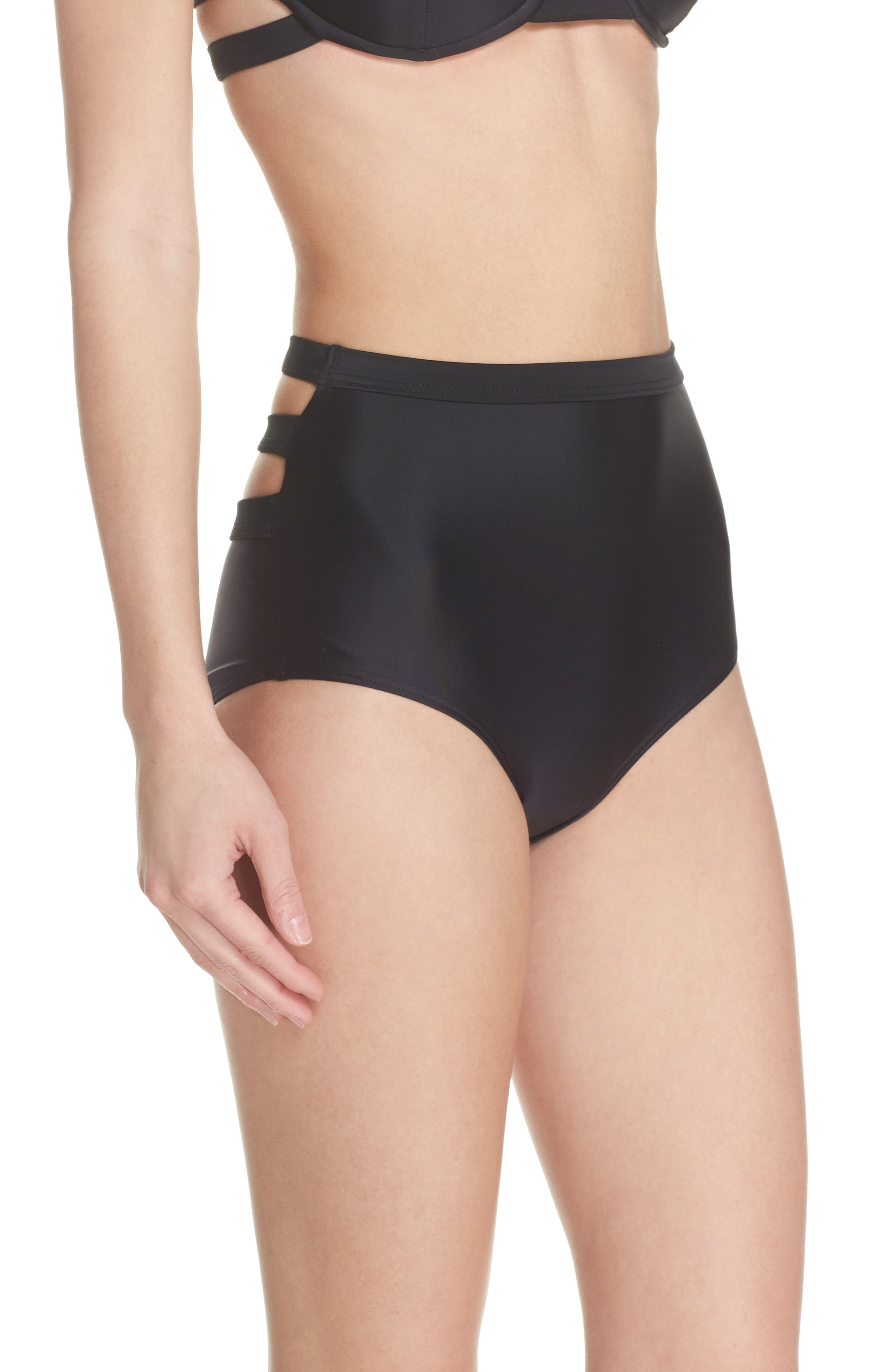 Bouloux II High Waist Bikini Bottoms,                             Alternate thumbnail 4, color,                             Black