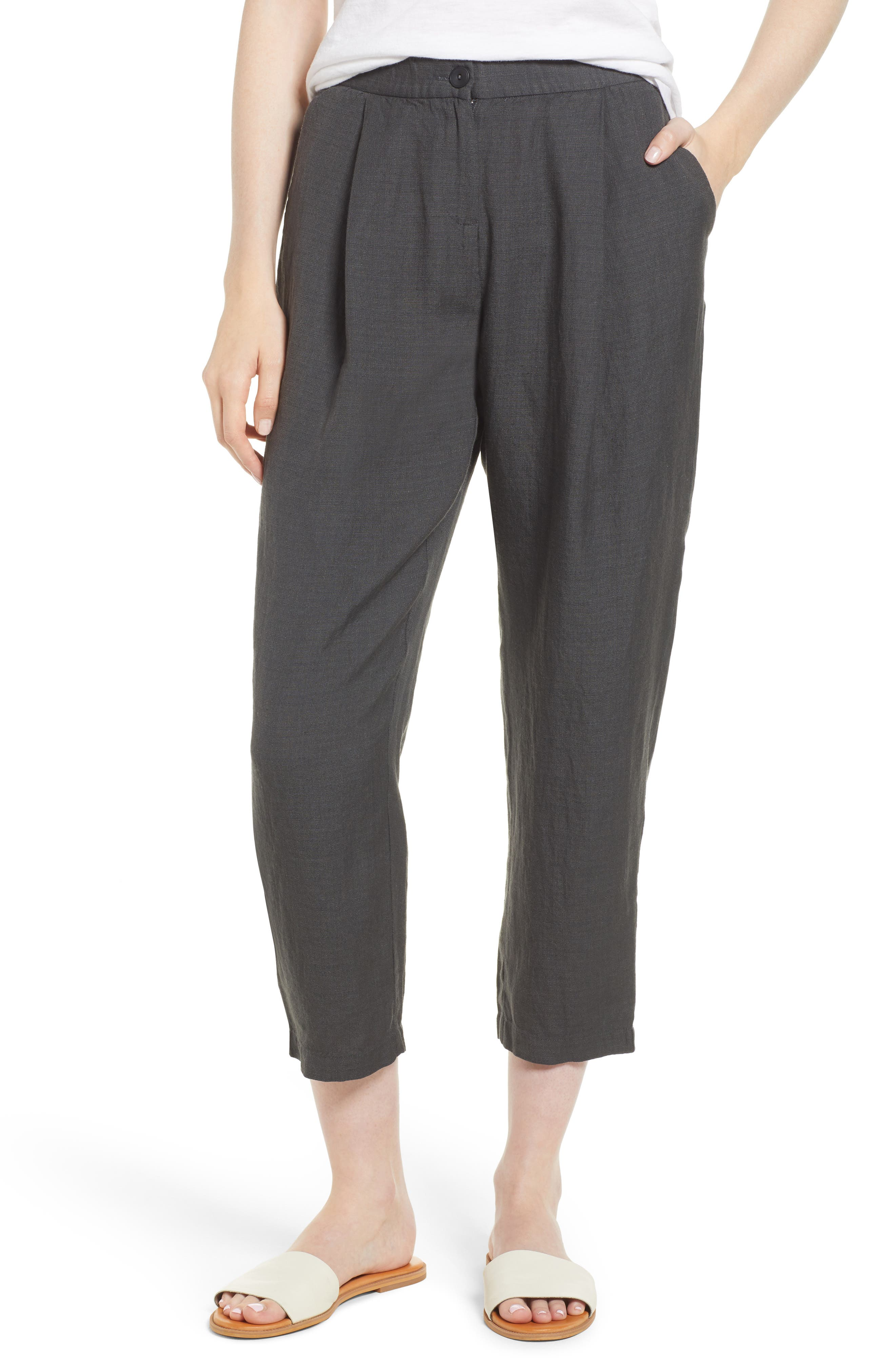 Pleated Linen Blend Ankle Trousers,                         Main,                         color, Graphite