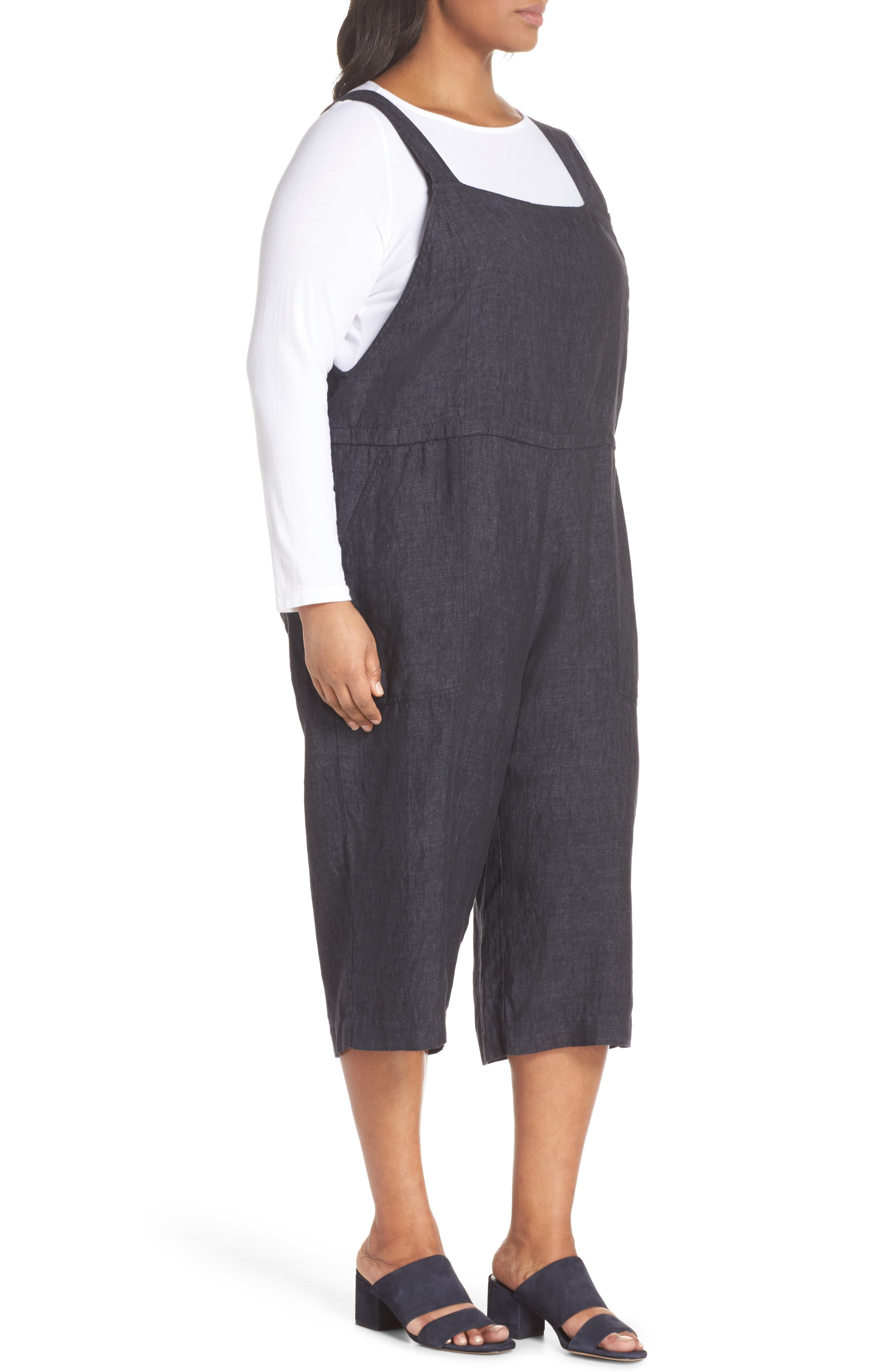 Wide Crop Linen Overalls,                             Alternate thumbnail 3, color,                             Denim