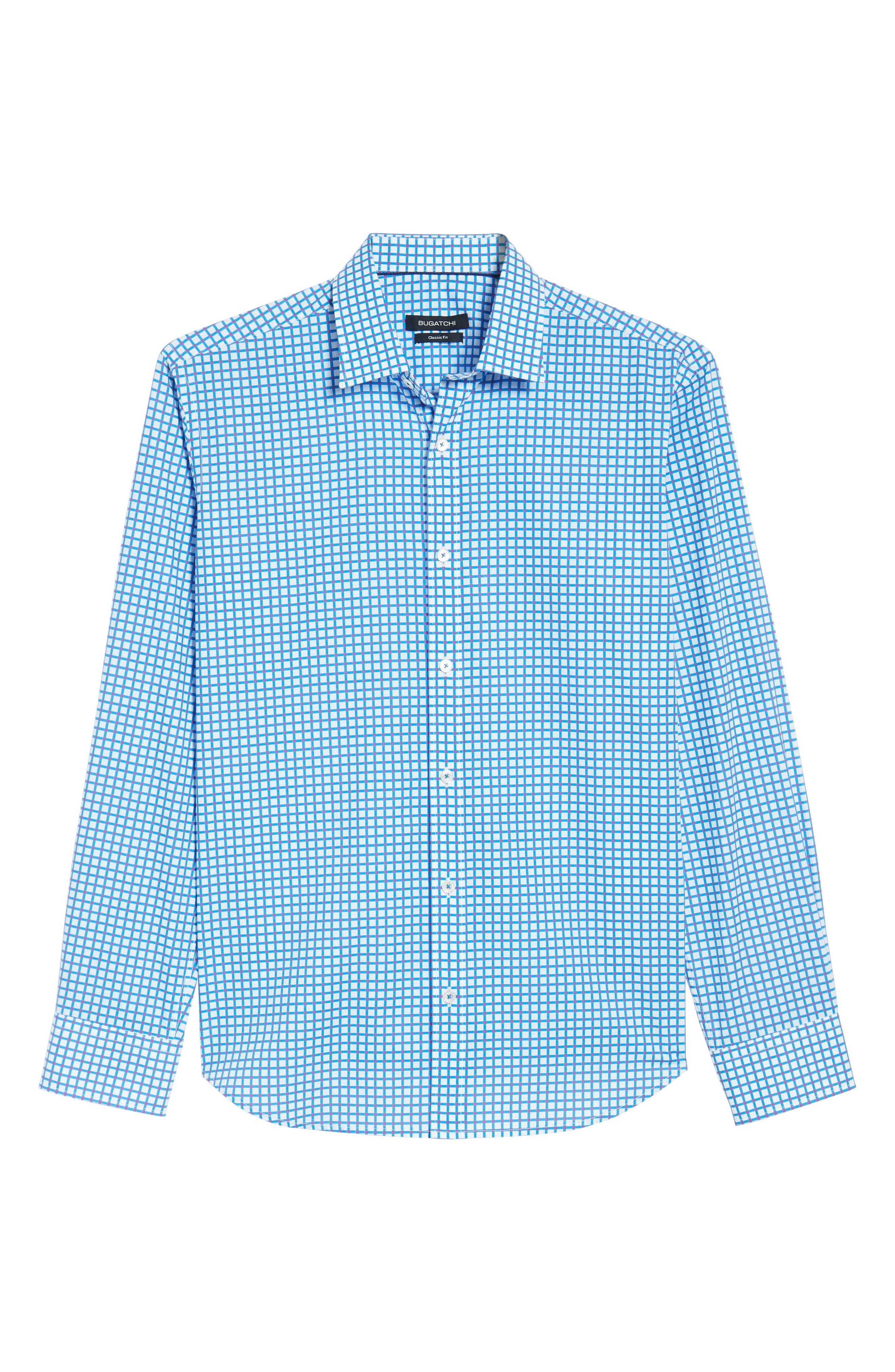 Classic Fit Dot Check Sport Shirt,                             Alternate thumbnail 6, color,                             Turquoise