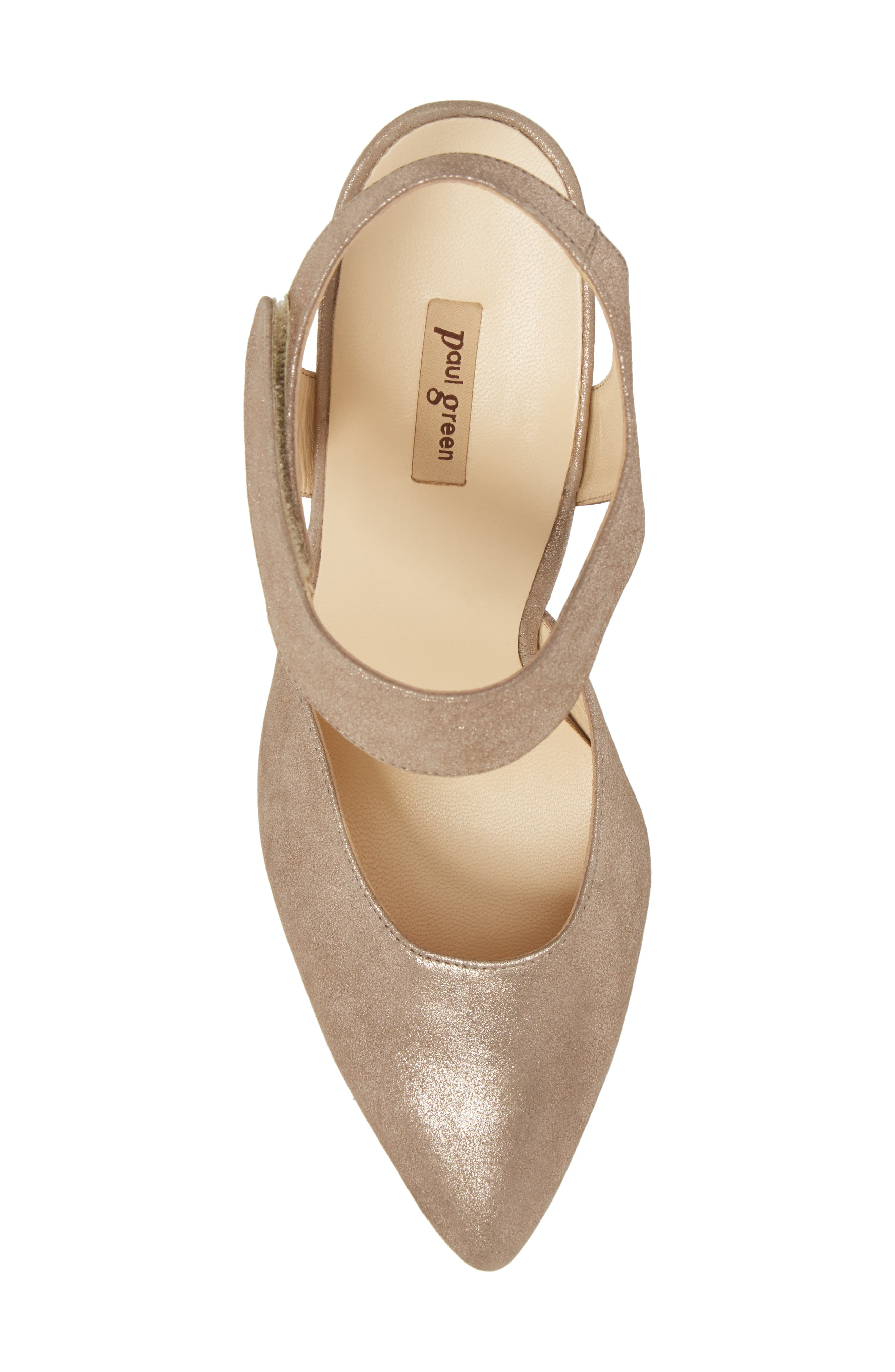 Nicolette Pointy Toe Pump,                             Alternate thumbnail 5, color,                             Champagne Metallic