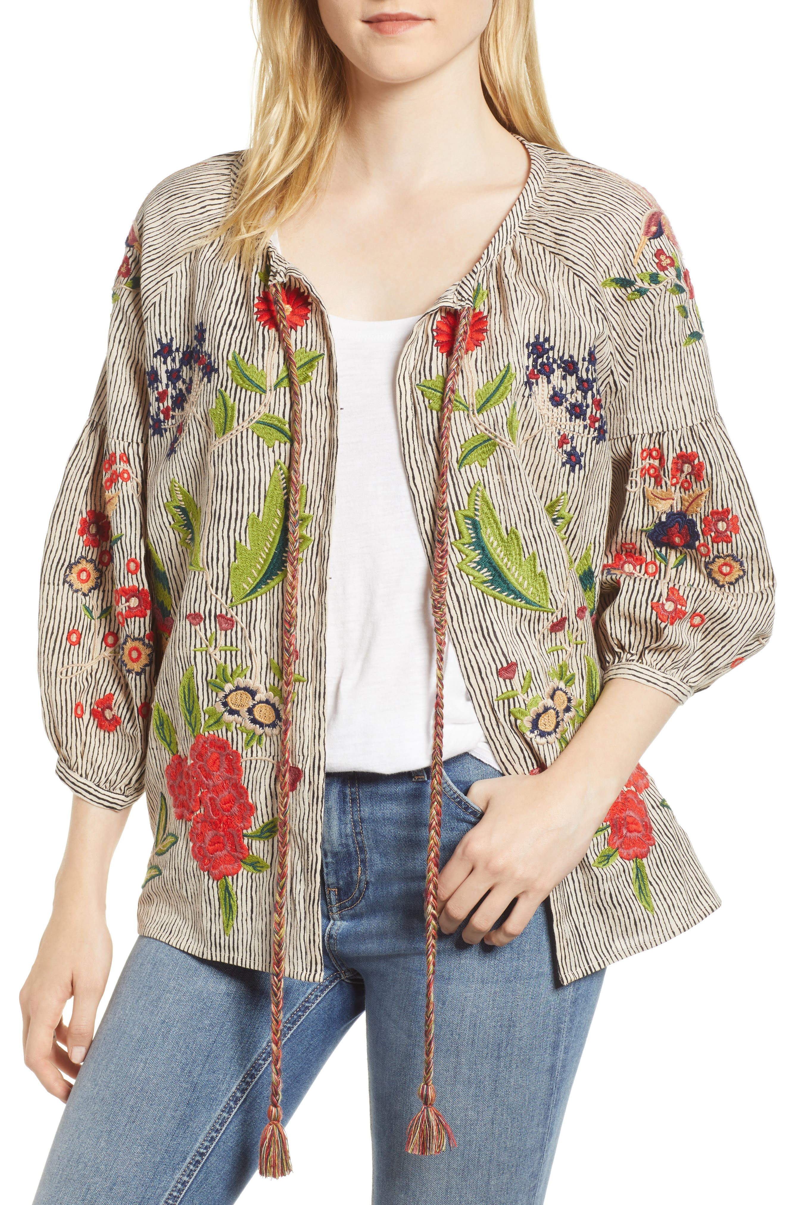 Embroidered Stripe Jacket,                             Main thumbnail 1, color,                             Multi