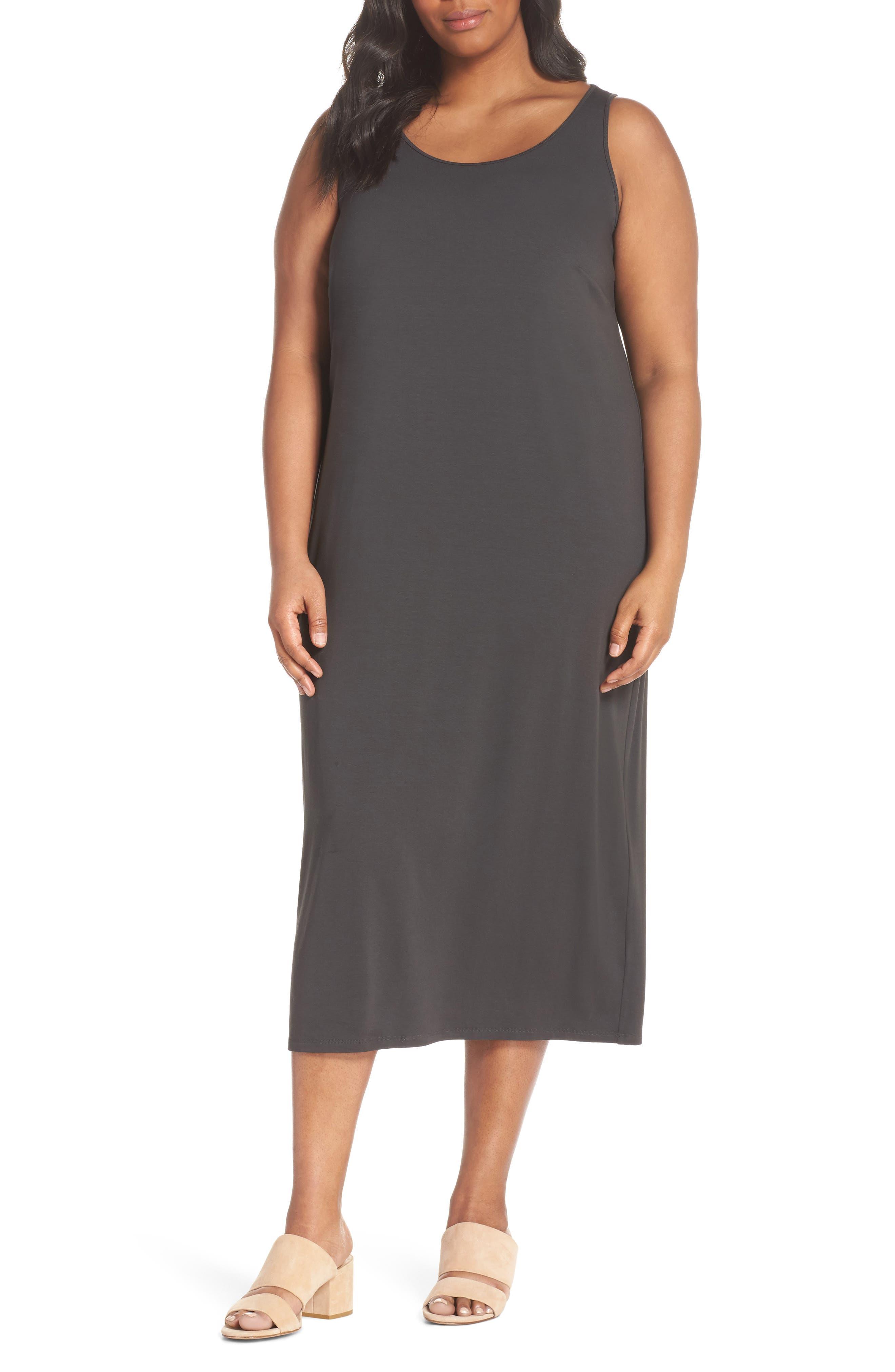Scoop Neck Jersey Dress,                             Main thumbnail 1, color,                             Graphite