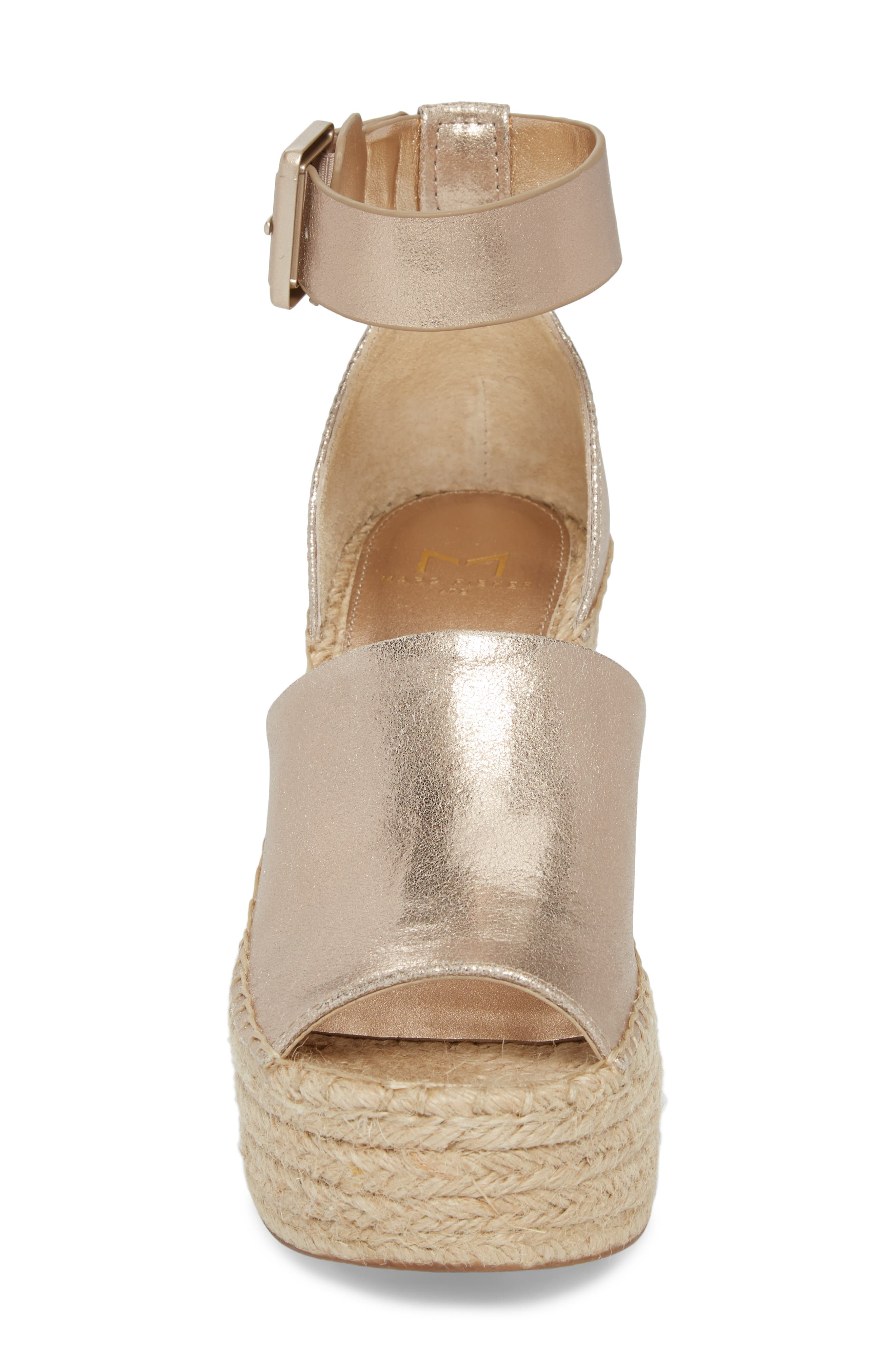 Adalyn Espadrille Wedge Sandal,                             Alternate thumbnail 4, color,                             Gold Leather