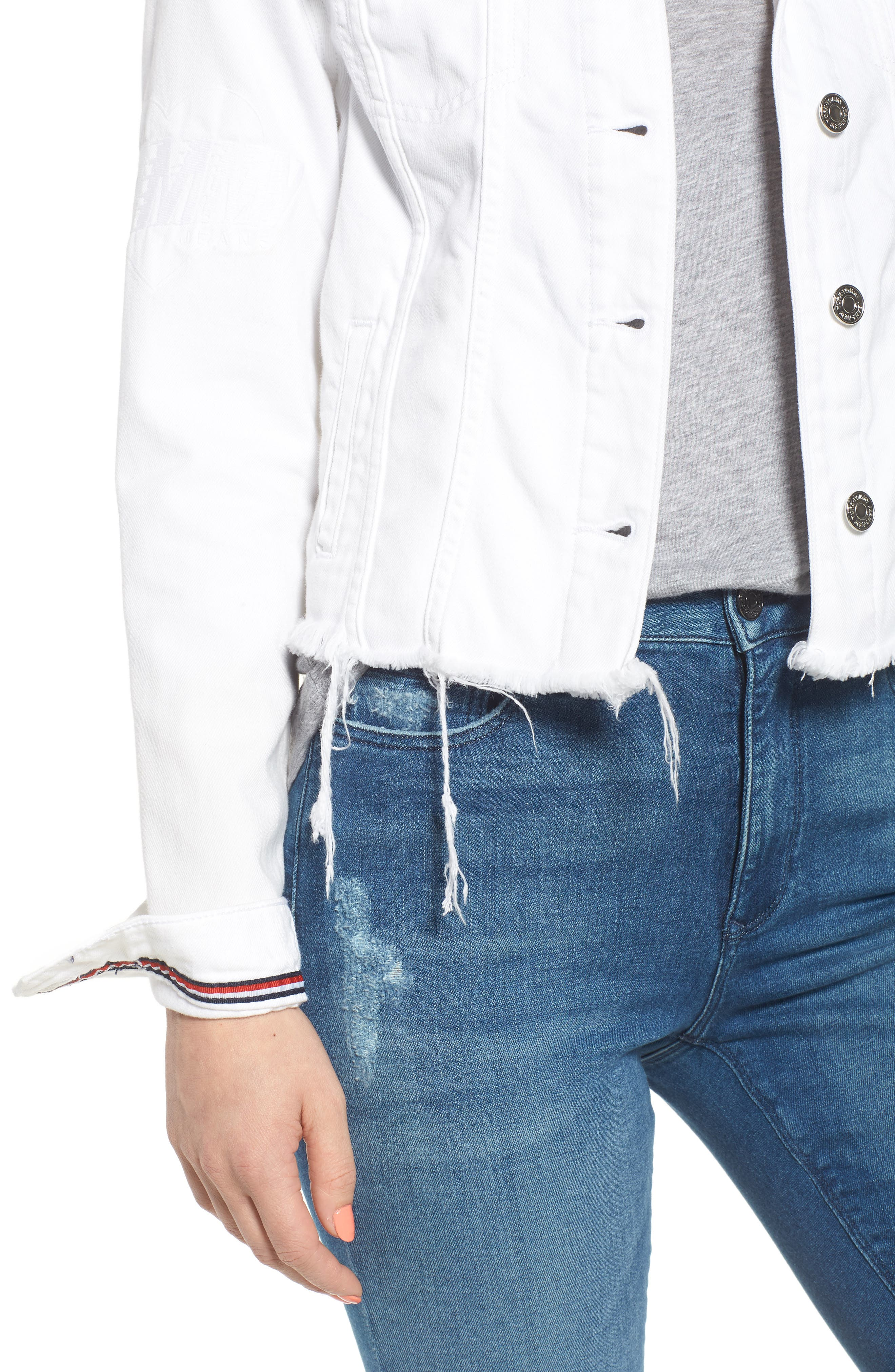Slim Trucker Denim Jacket,                             Alternate thumbnail 4, color,                             Soft White Rigid