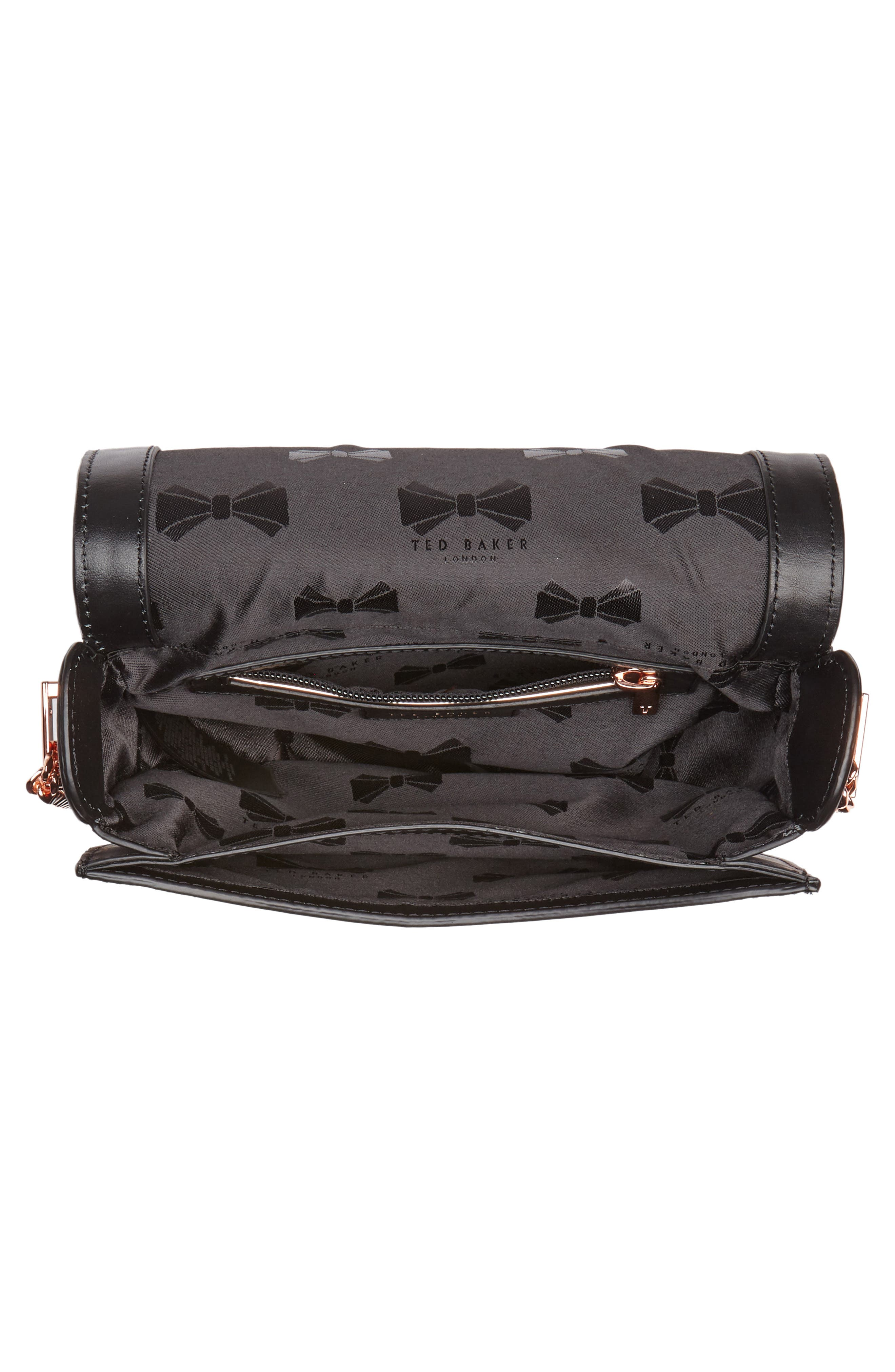 Roslyn Leather Crossbody Bag,                             Alternate thumbnail 4, color,                             Black