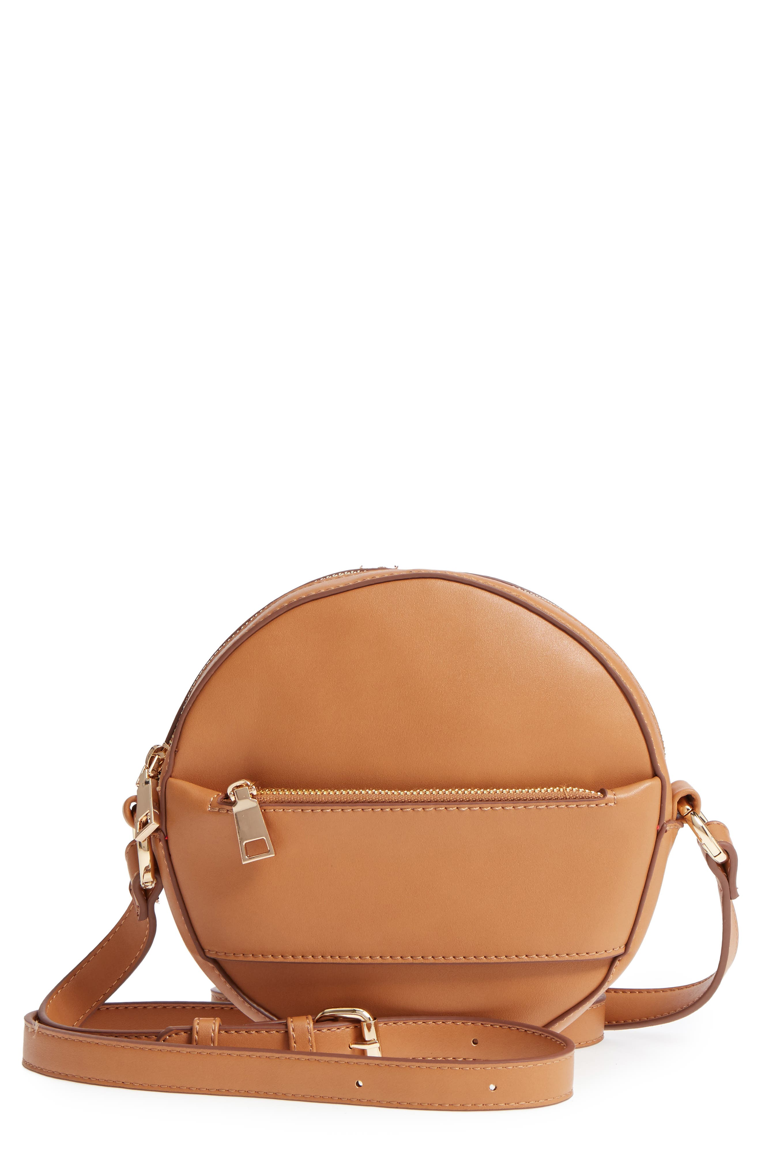 Faux Leather Canteen Crossbody Bag,                         Main,                         color, Camel