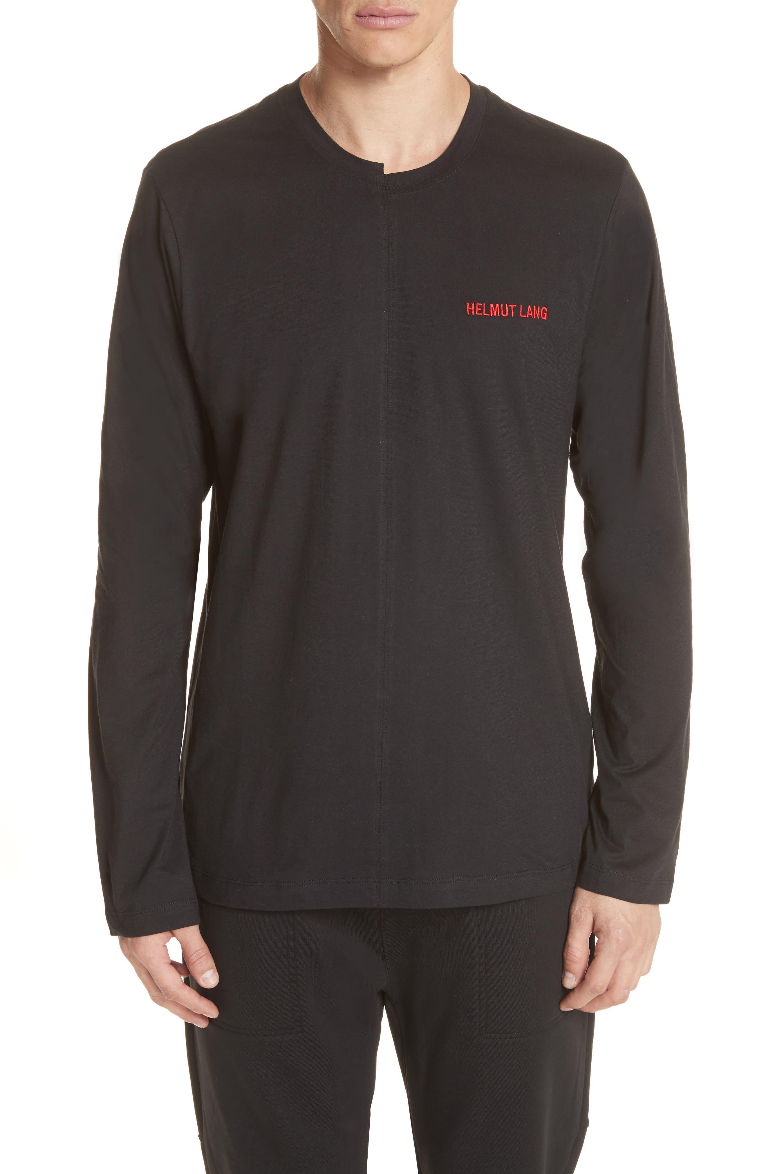 Cut Neck Long Sleeve T-Shirt,                         Main,                         color, Black