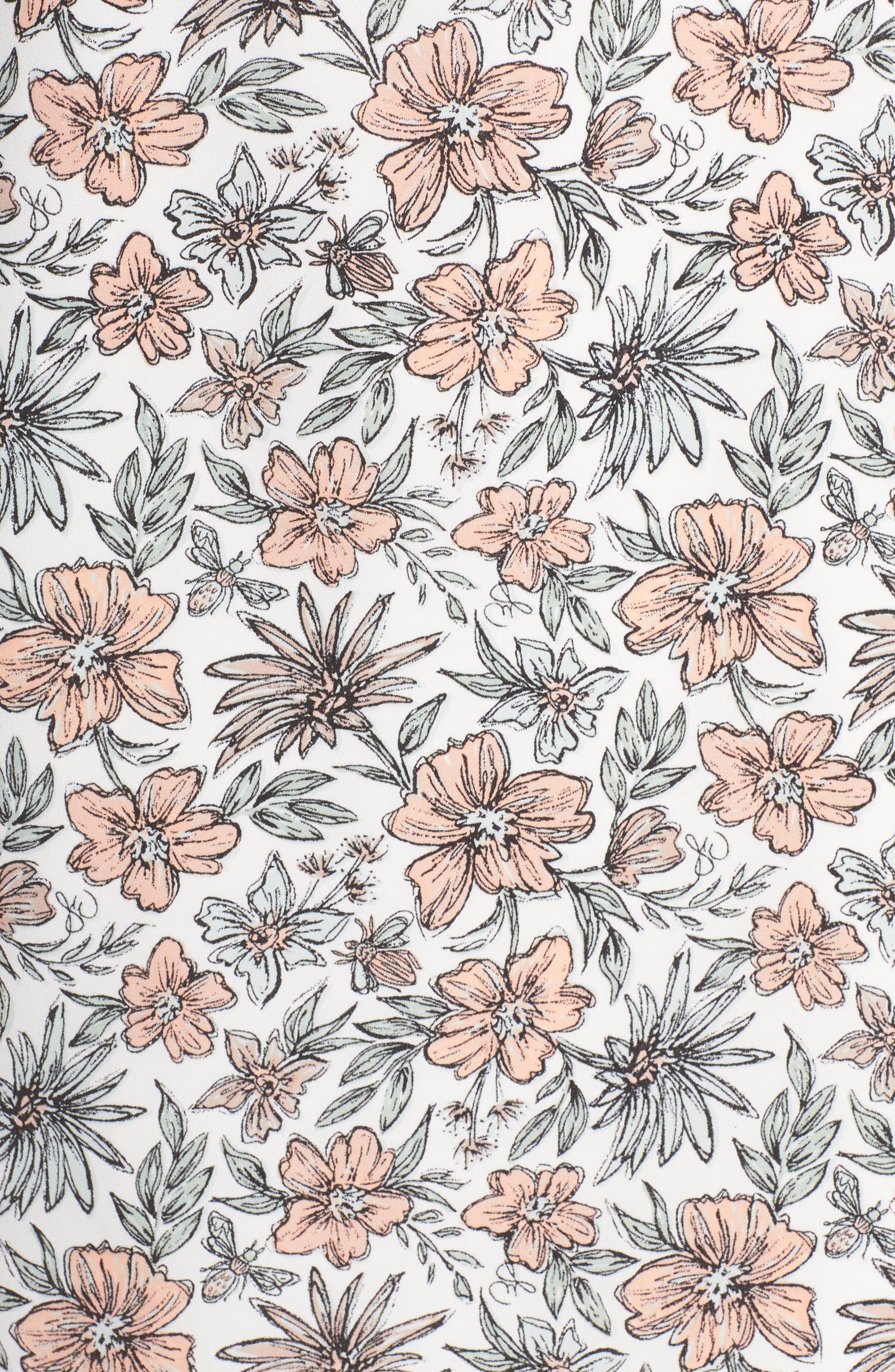 Off the Shoulder Shift Dress,                             Alternate thumbnail 6, color,                             Ivory/ Blush