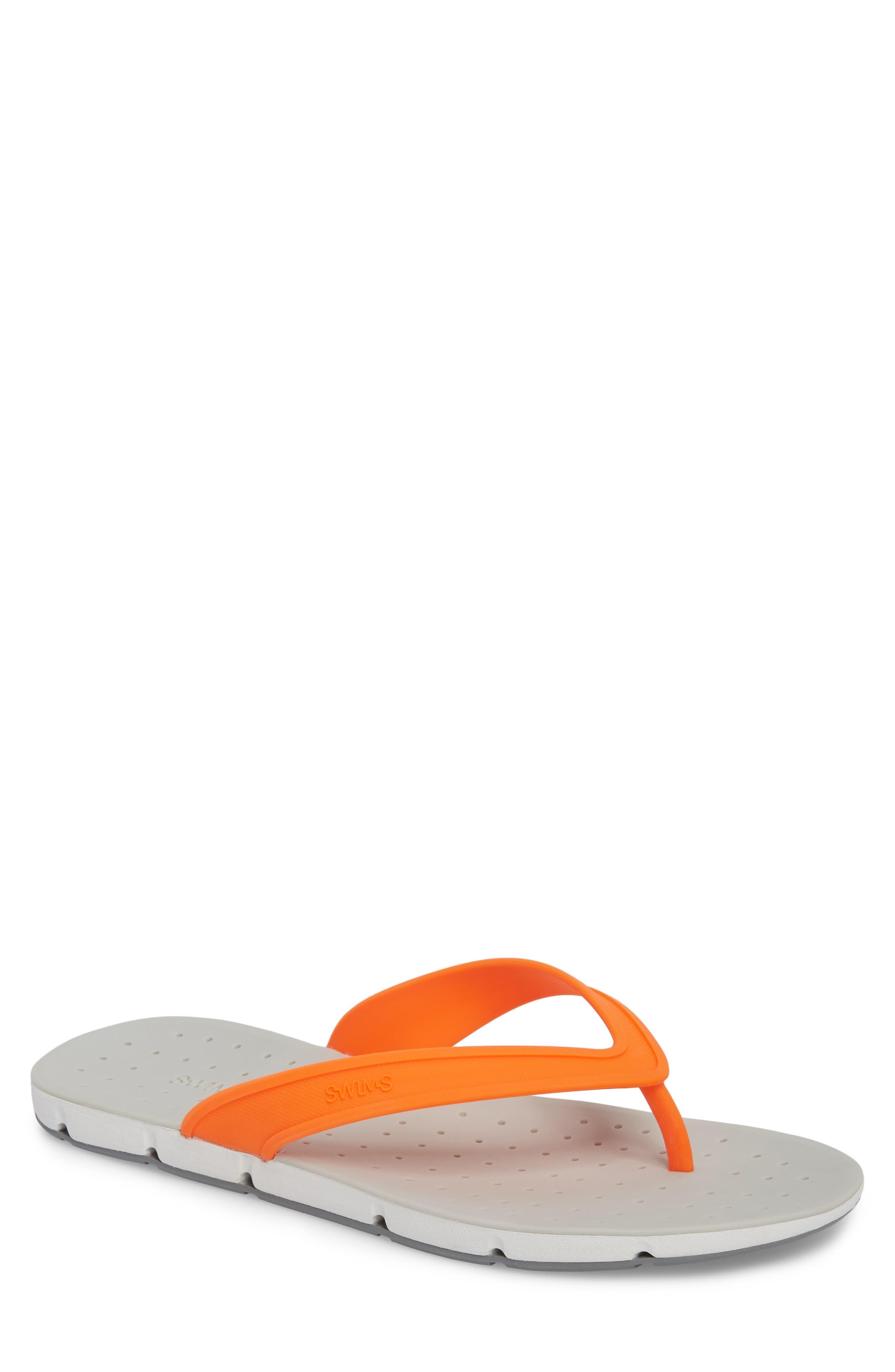 Breeze Flip Flop,                             Main thumbnail 1, color,                             Orange/ White/ Grey Fabric