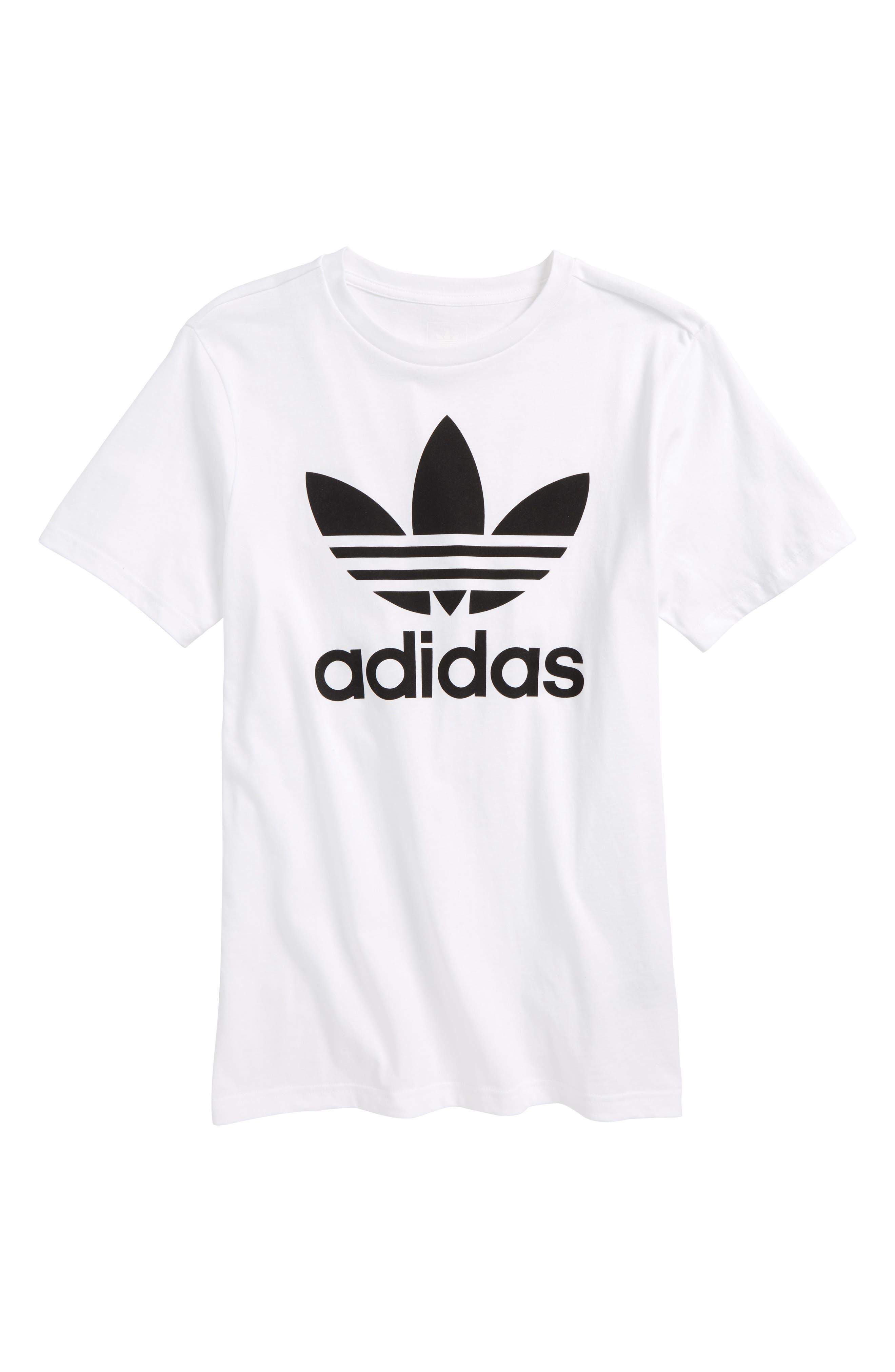 adidas Trefoil Logo T-Shirt,                         Main,                         color, White/ Black