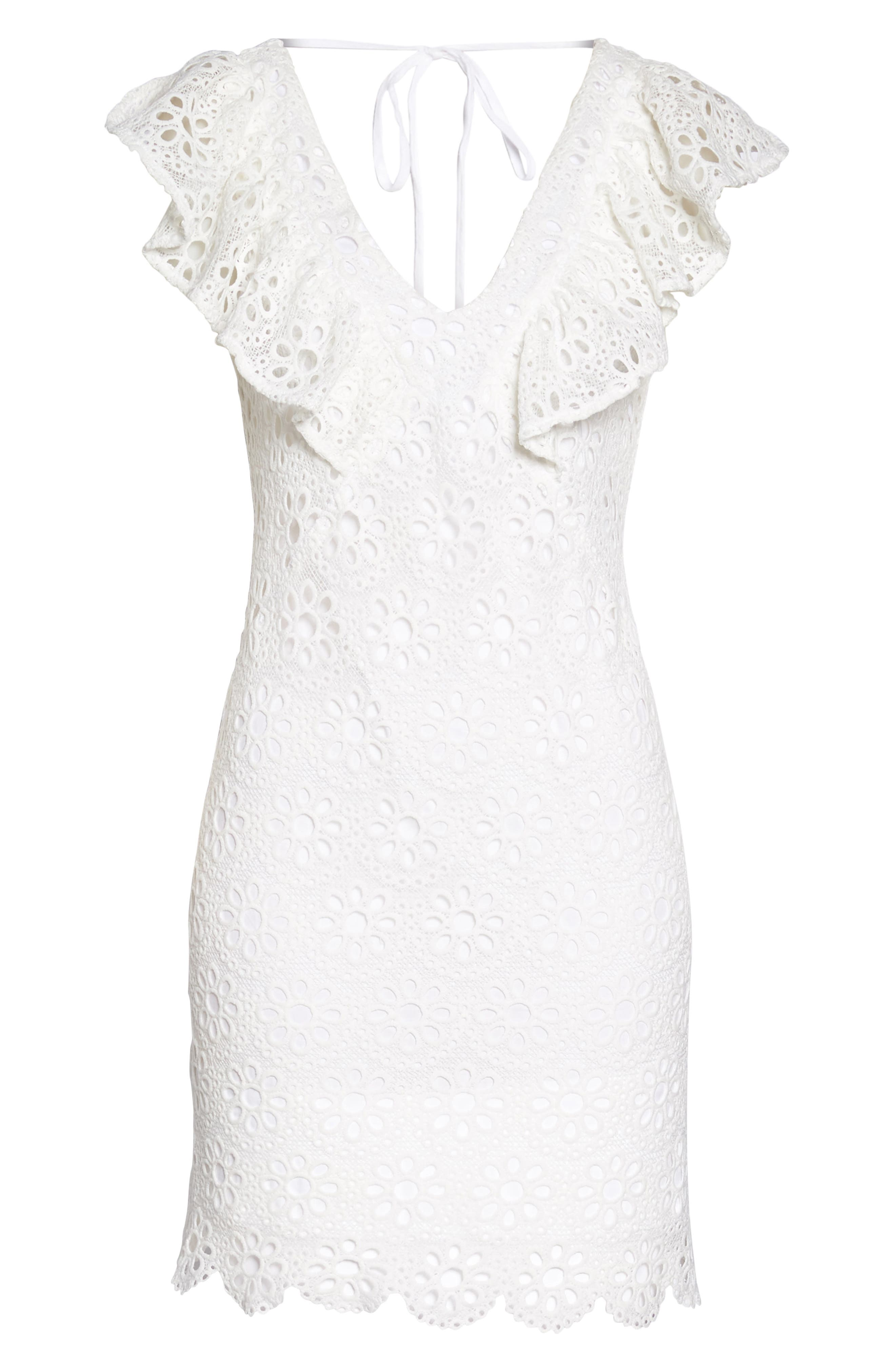 Neriah Eyelet Embroidered Dress,                             Alternate thumbnail 7, color,                             Whitewash