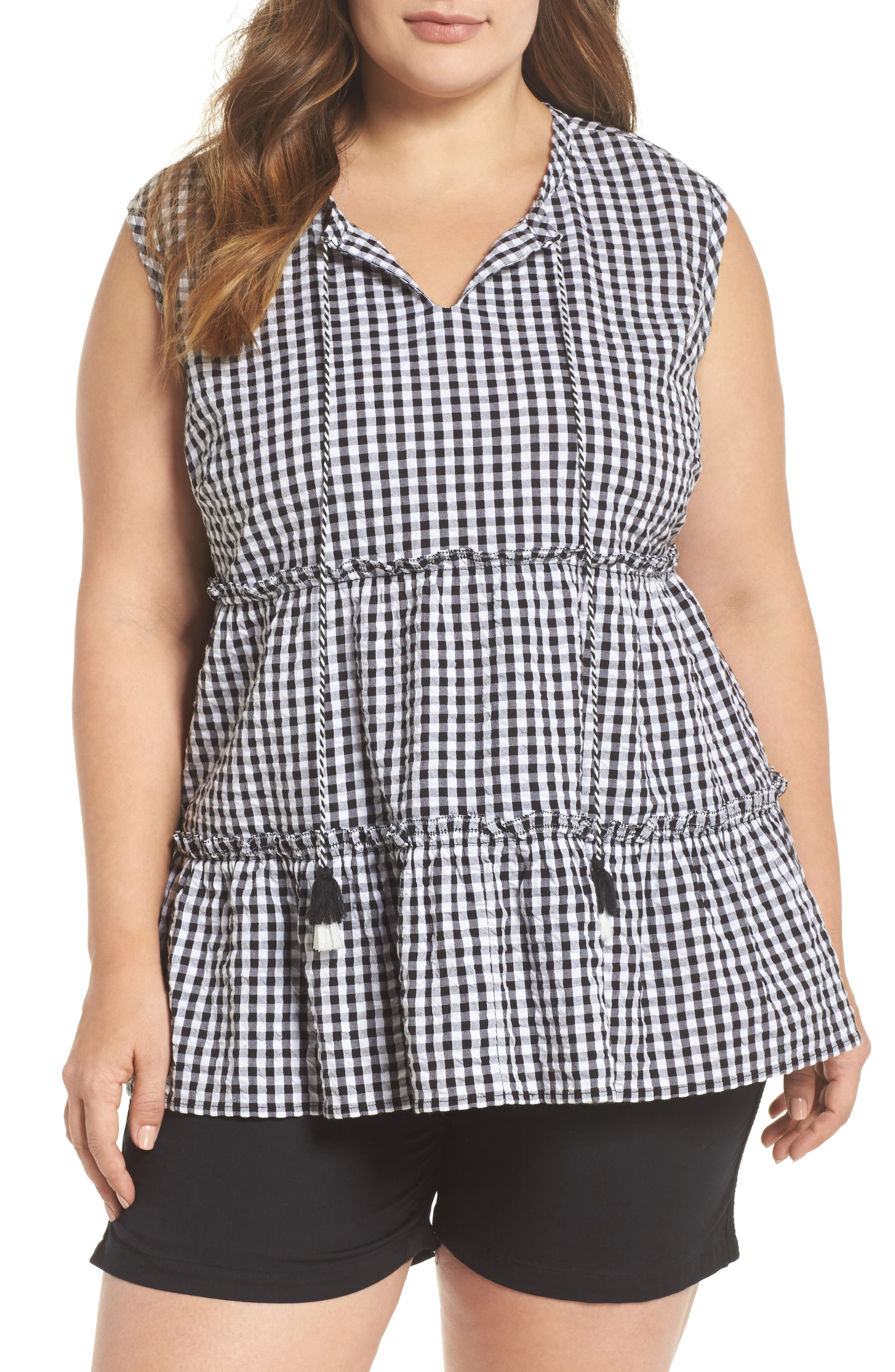 Tassel Tie Neck Tiered Ruffle Tank,                             Main thumbnail 1, color,                             Black- White Gingham