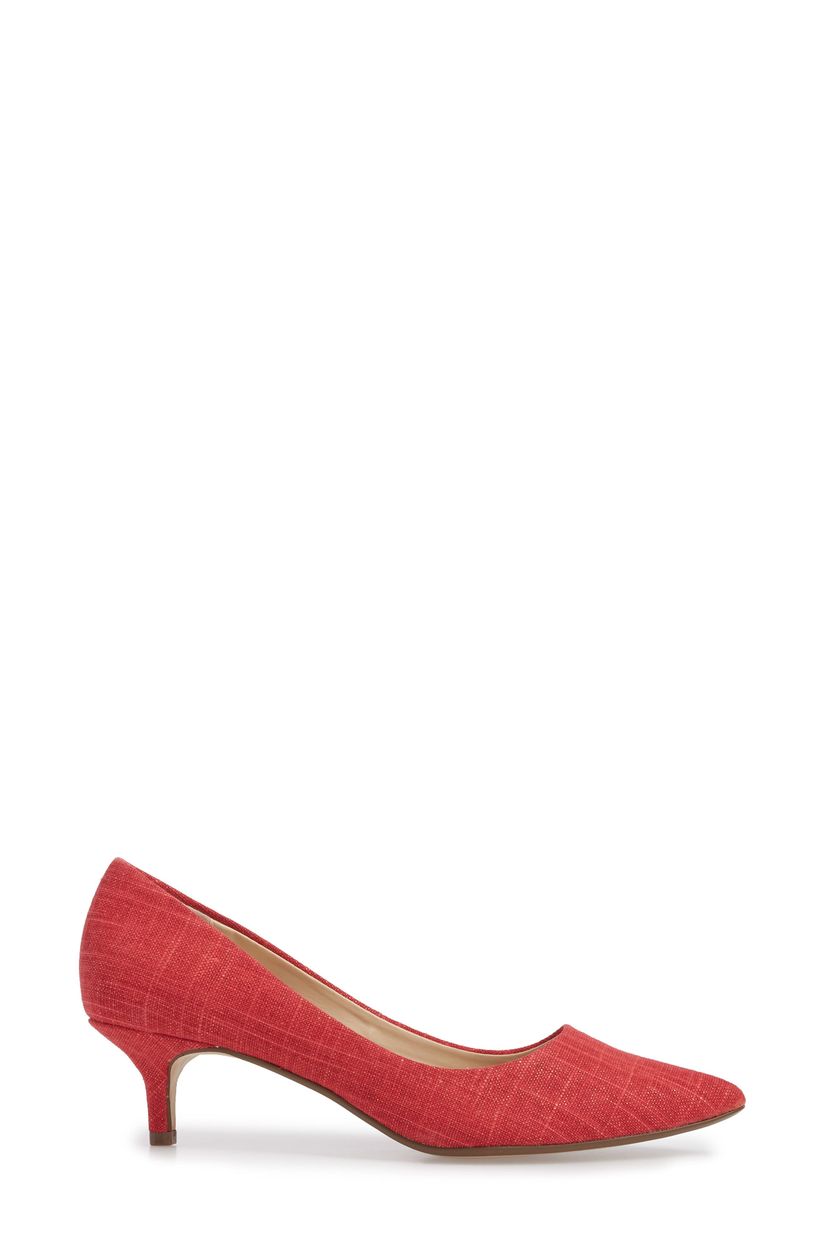 Target Kitten Heel Pump,                             Alternate thumbnail 3, color,                             Red Fabric