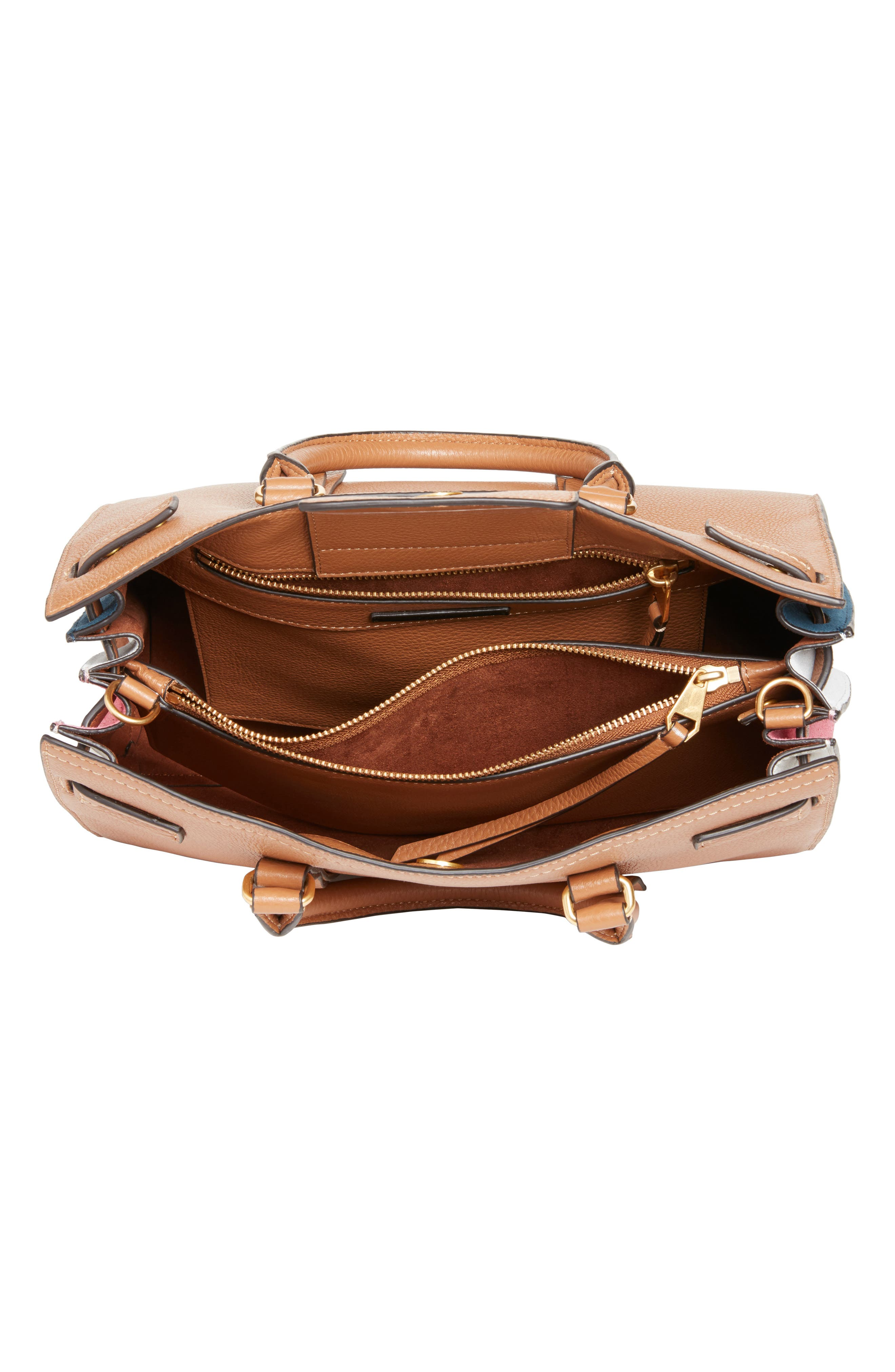 Sherry Calfskin Leather Satchel,                             Alternate thumbnail 4, color,                             Almond Multi