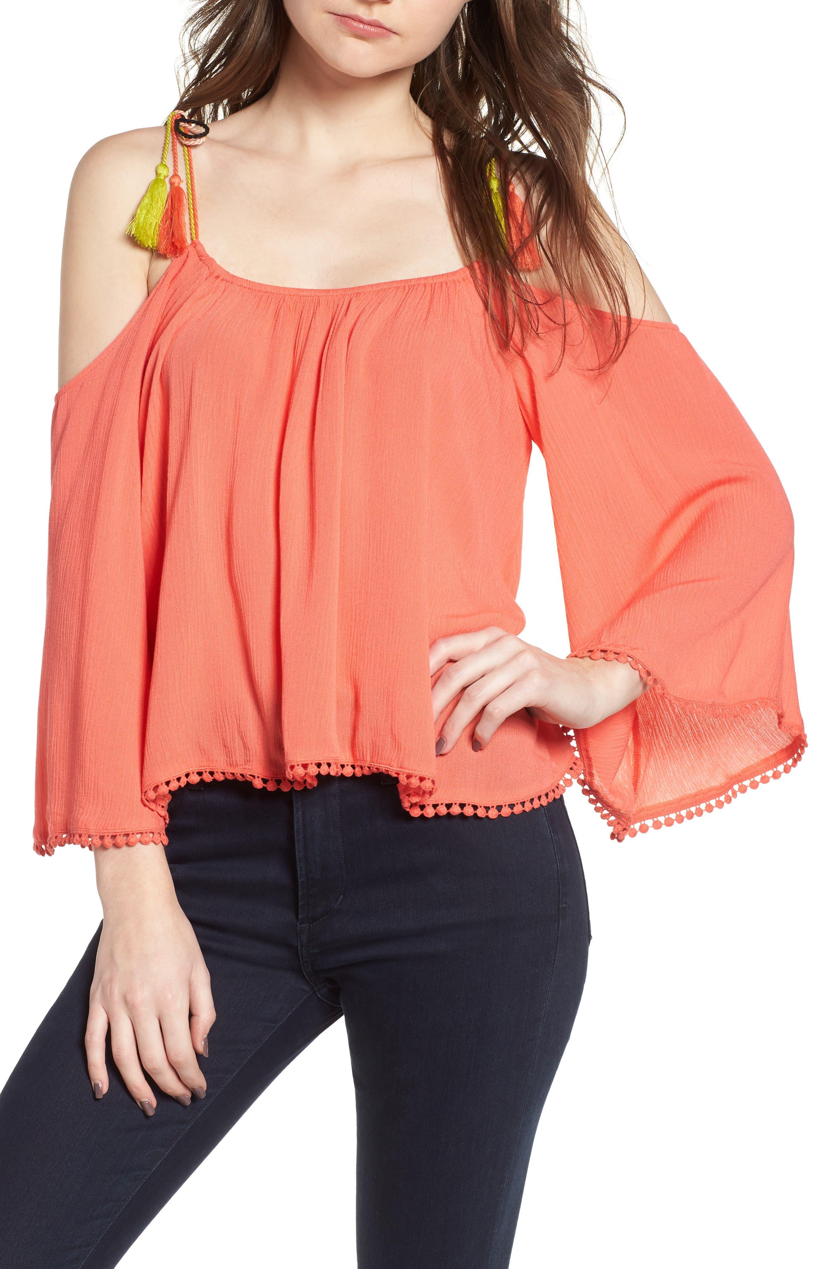 Bettie Cold Shoulder Blouse,                         Main,                         color, Hot Coral