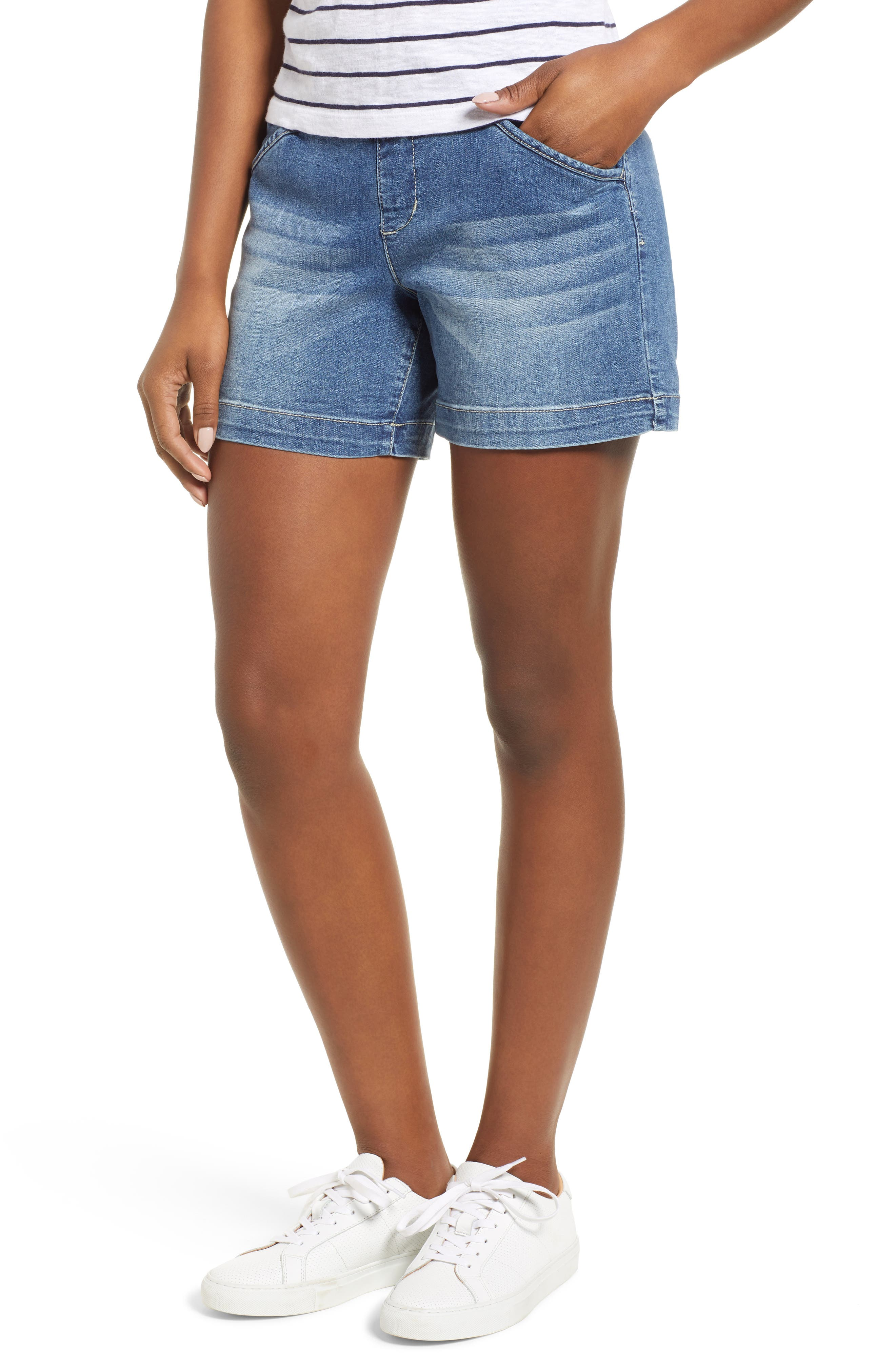 Ainsley 5 Denim Shorts,                             Main thumbnail 1, color,                             Med Indigo