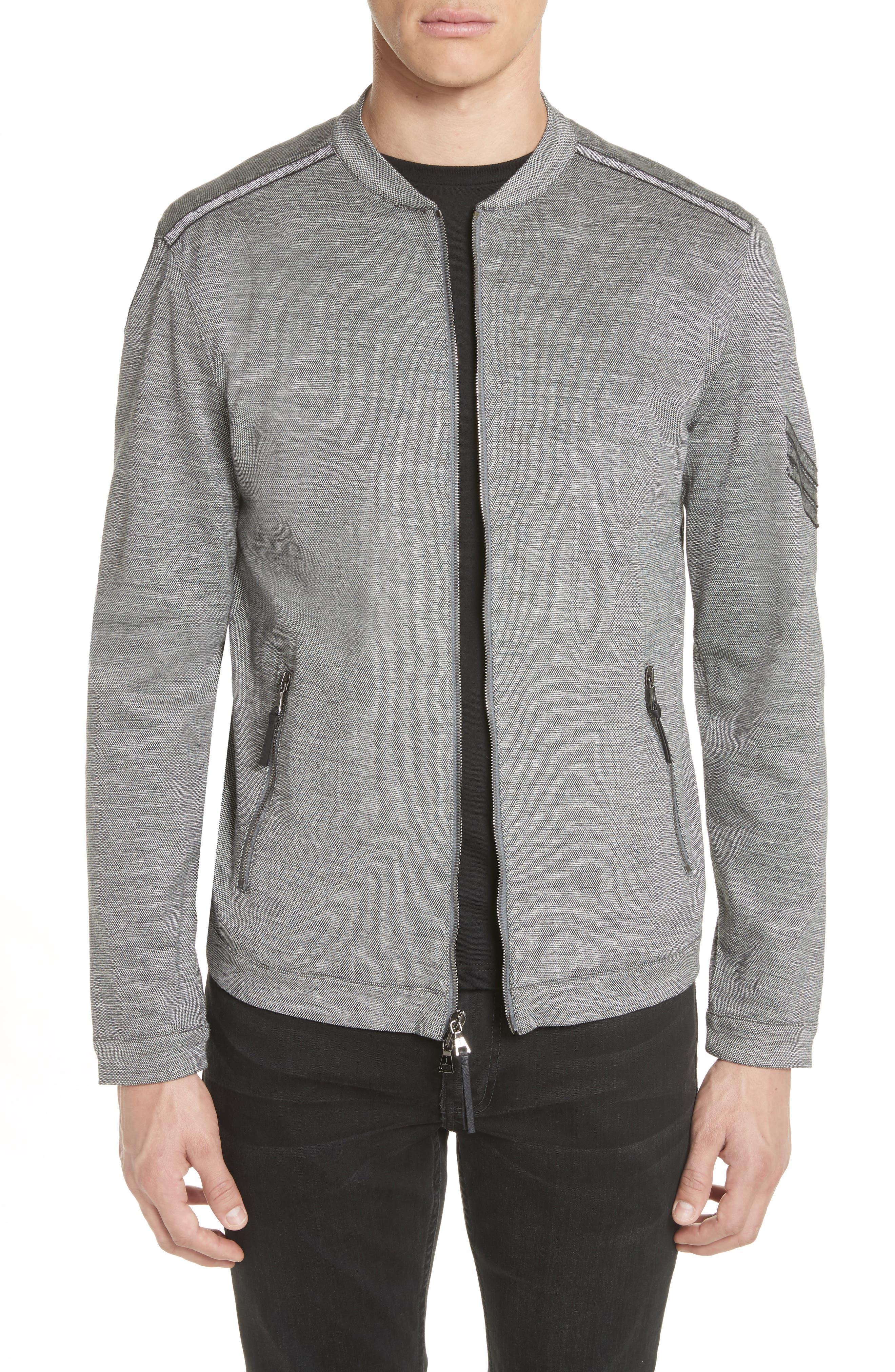 Zip Baseball Jacket,                         Main,                         color, Med Grey