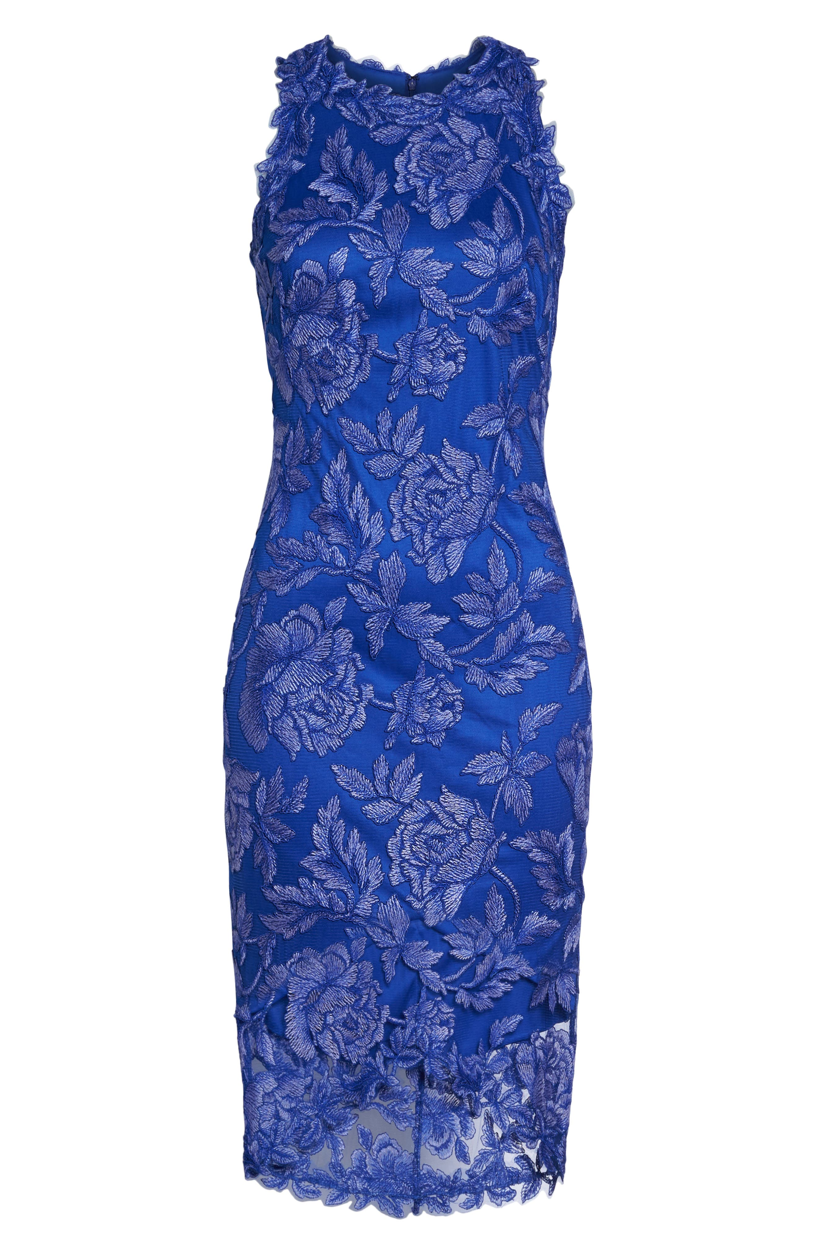 Embroidered Floral Sheath Dress,                             Alternate thumbnail 6, color,                             Blue Lily