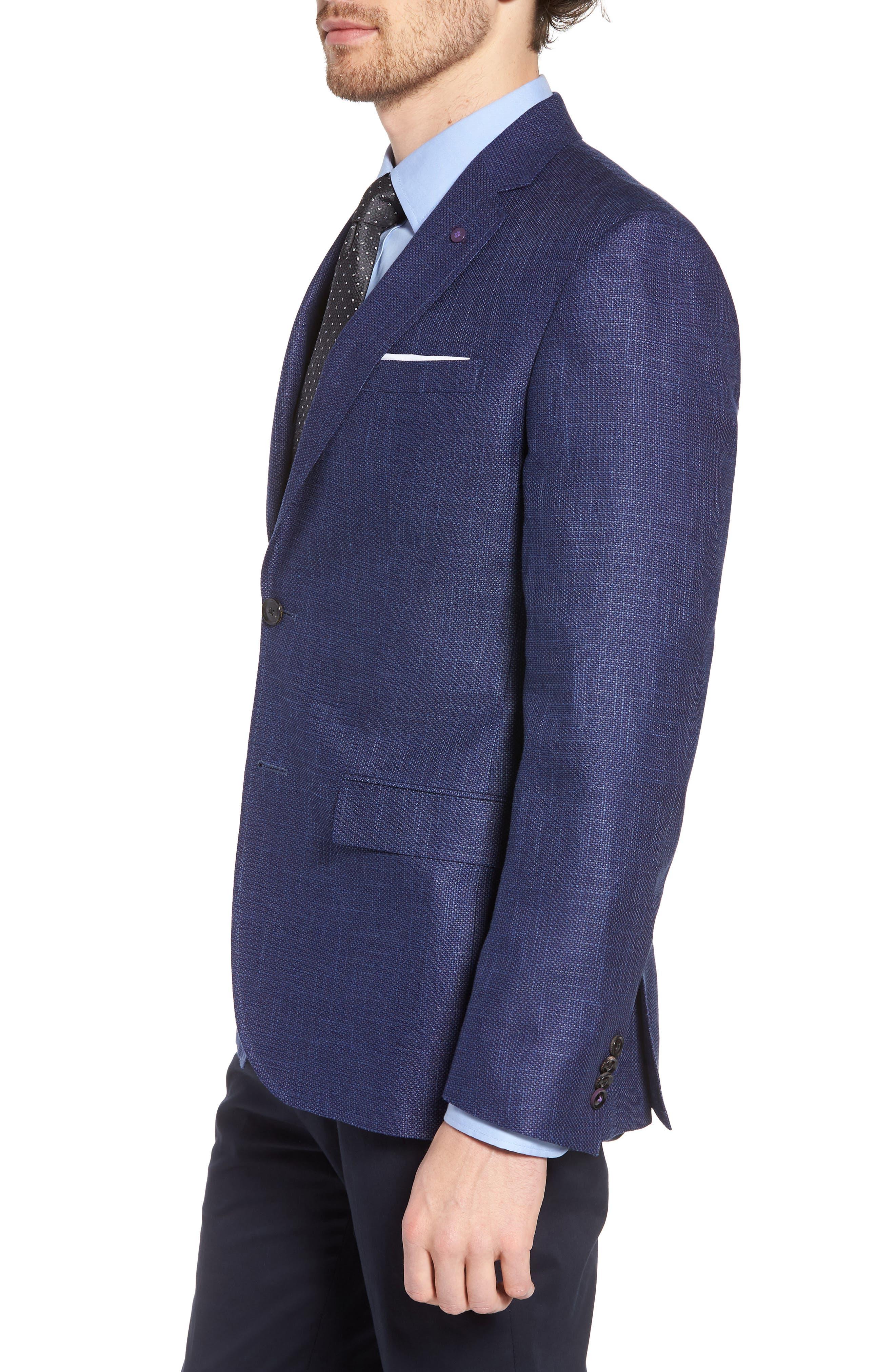 Jay Trim Fit Linen & Wool Blazer,                             Alternate thumbnail 3, color,                             Blue